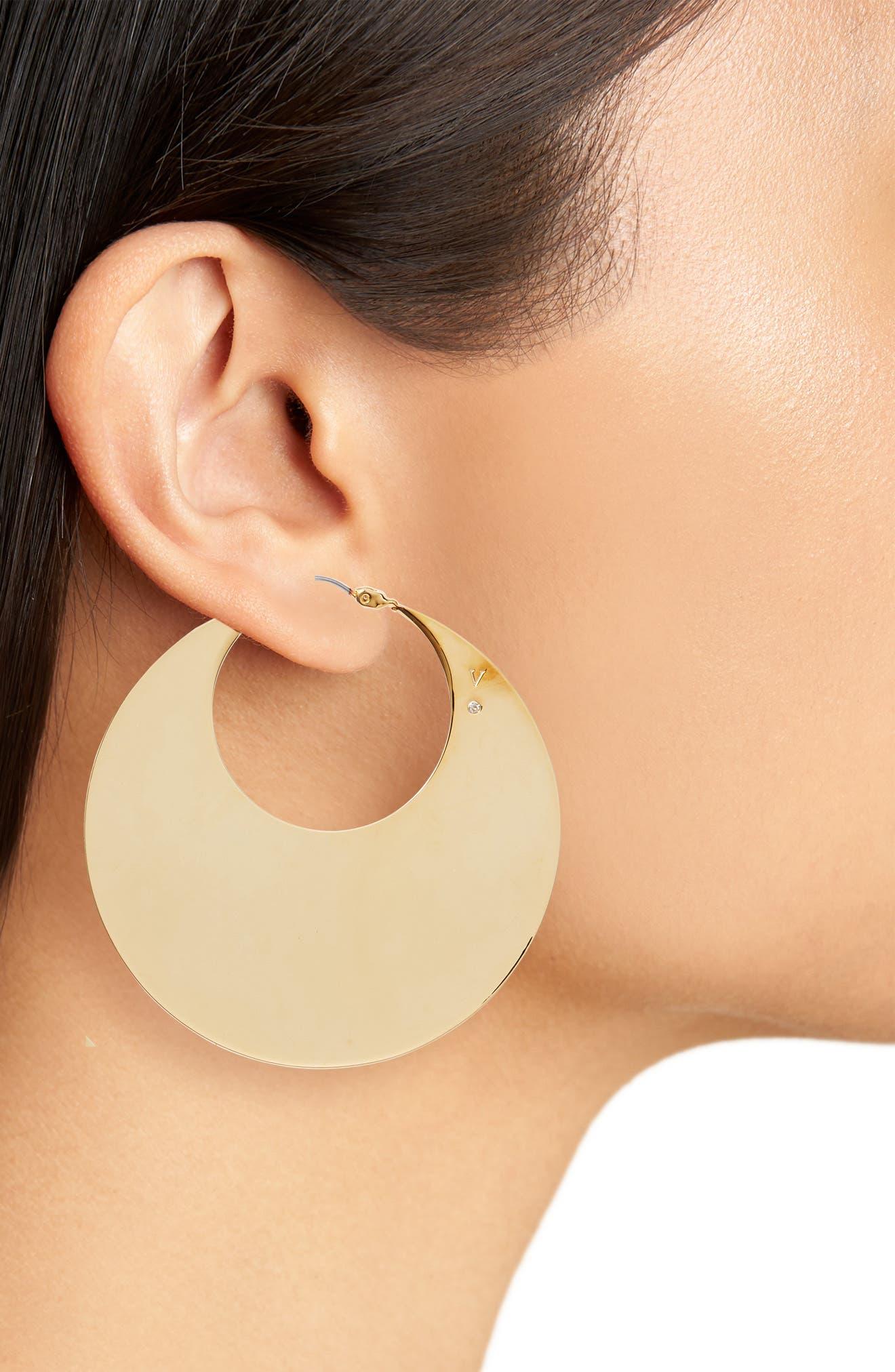 Chunky Disc Hoop Earrings,                             Alternate thumbnail 2, color,                             Gold