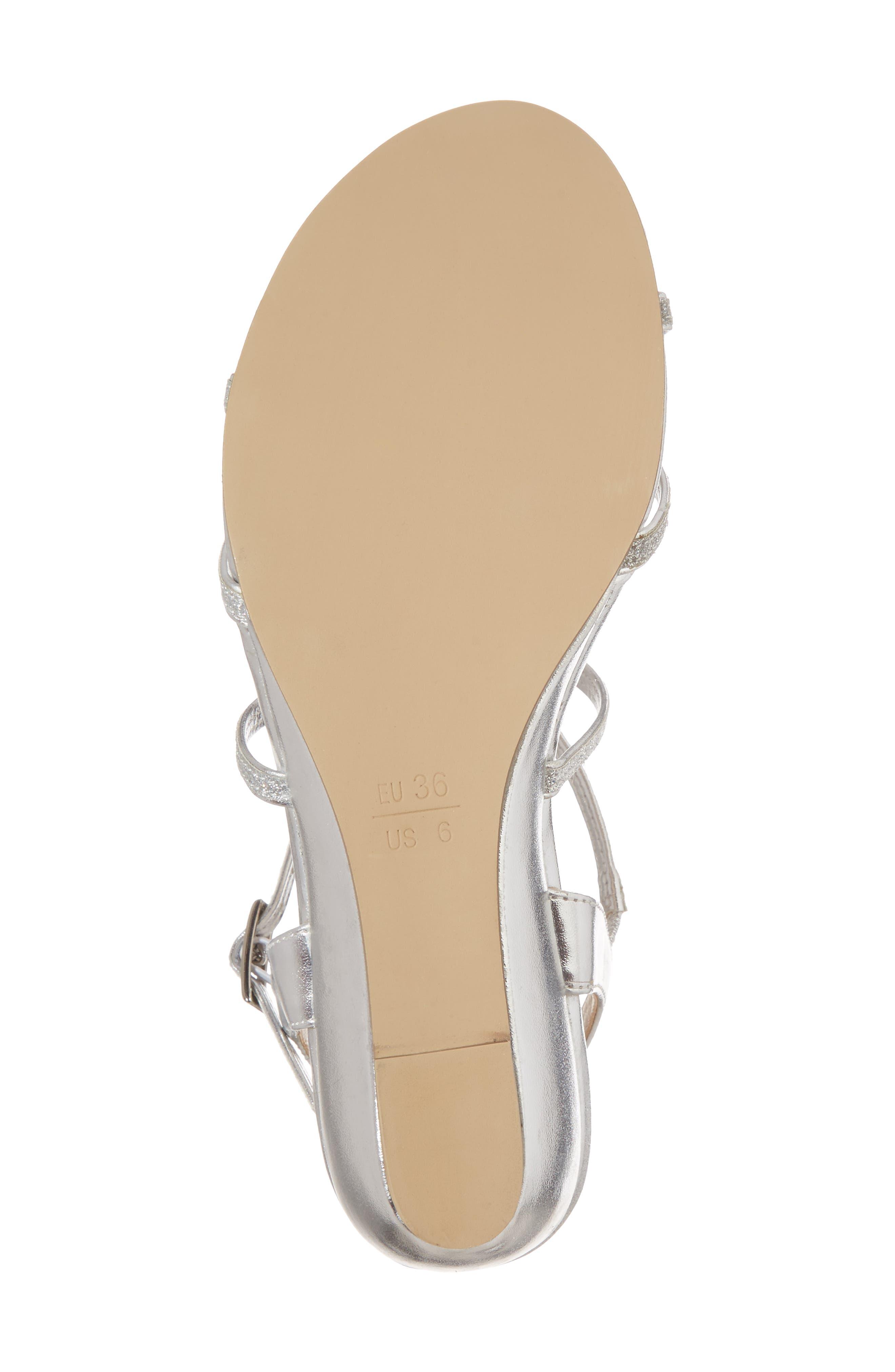 Kadie Wedge Sandal,                             Alternate thumbnail 6, color,                             Silver Glitter