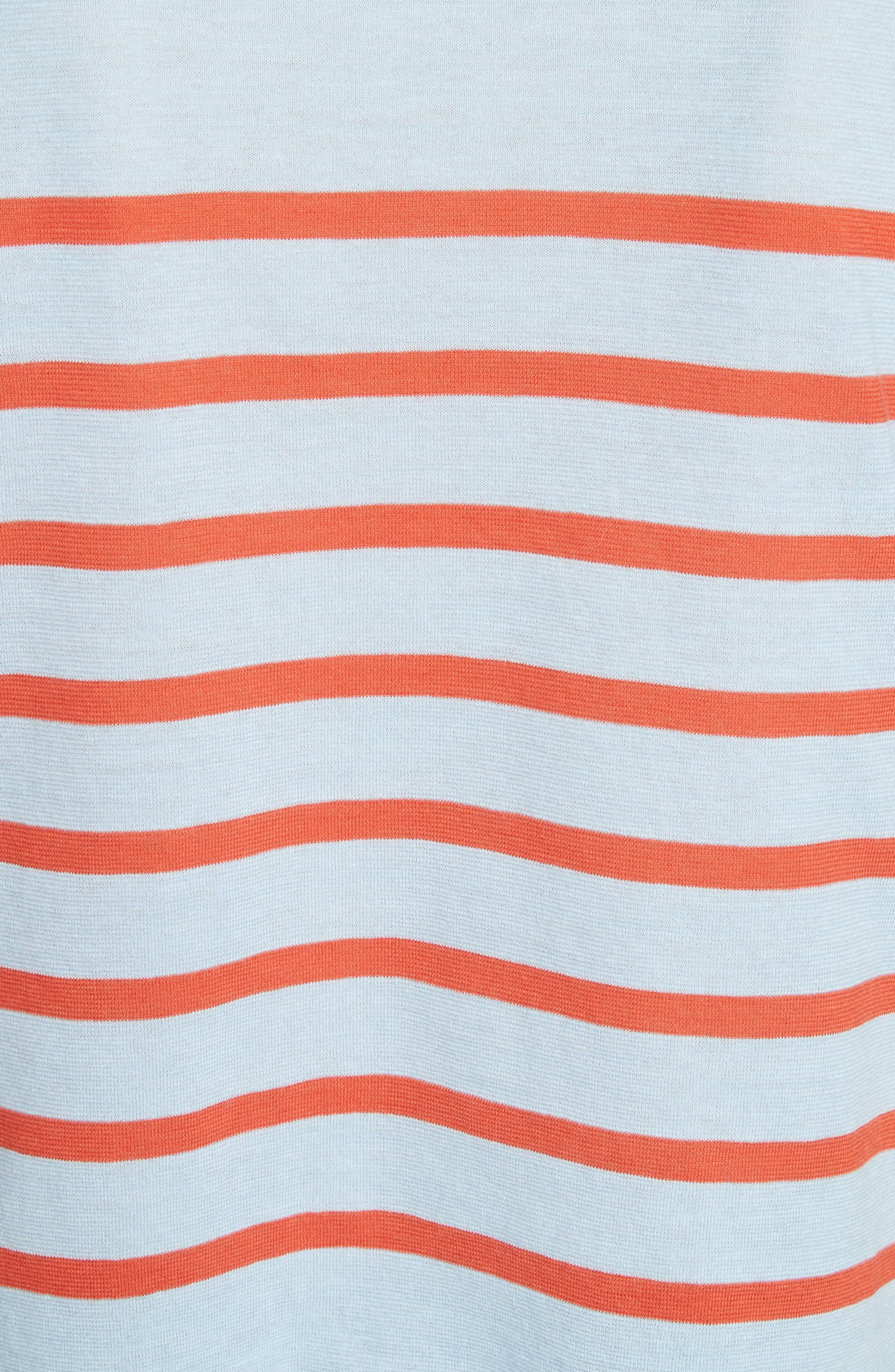 The Crop Stripe Tee,                             Alternate thumbnail 5, color,                             Sky/ Poppy