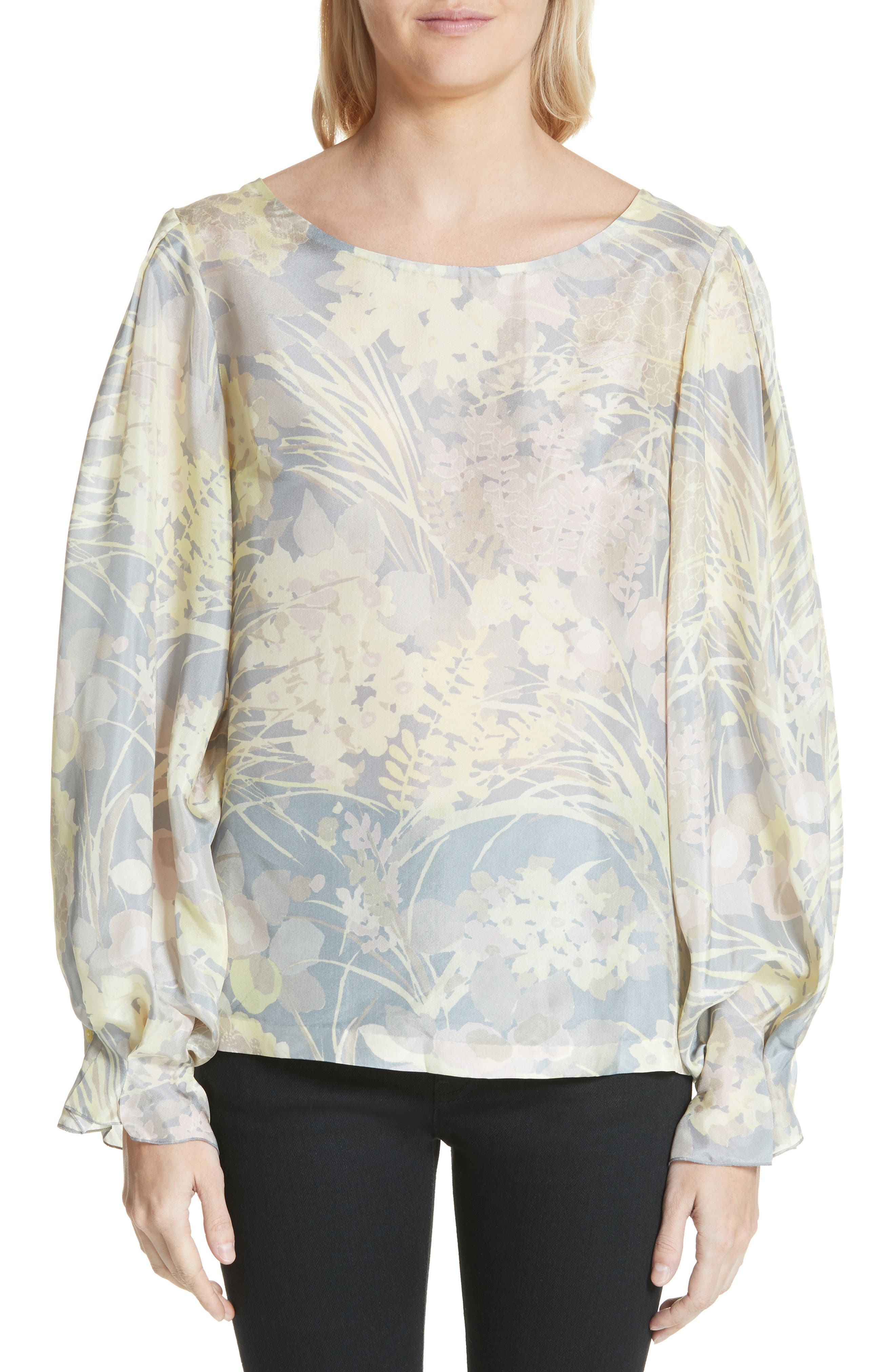 Floral Silk Blouse,                         Main,                         color, Grey