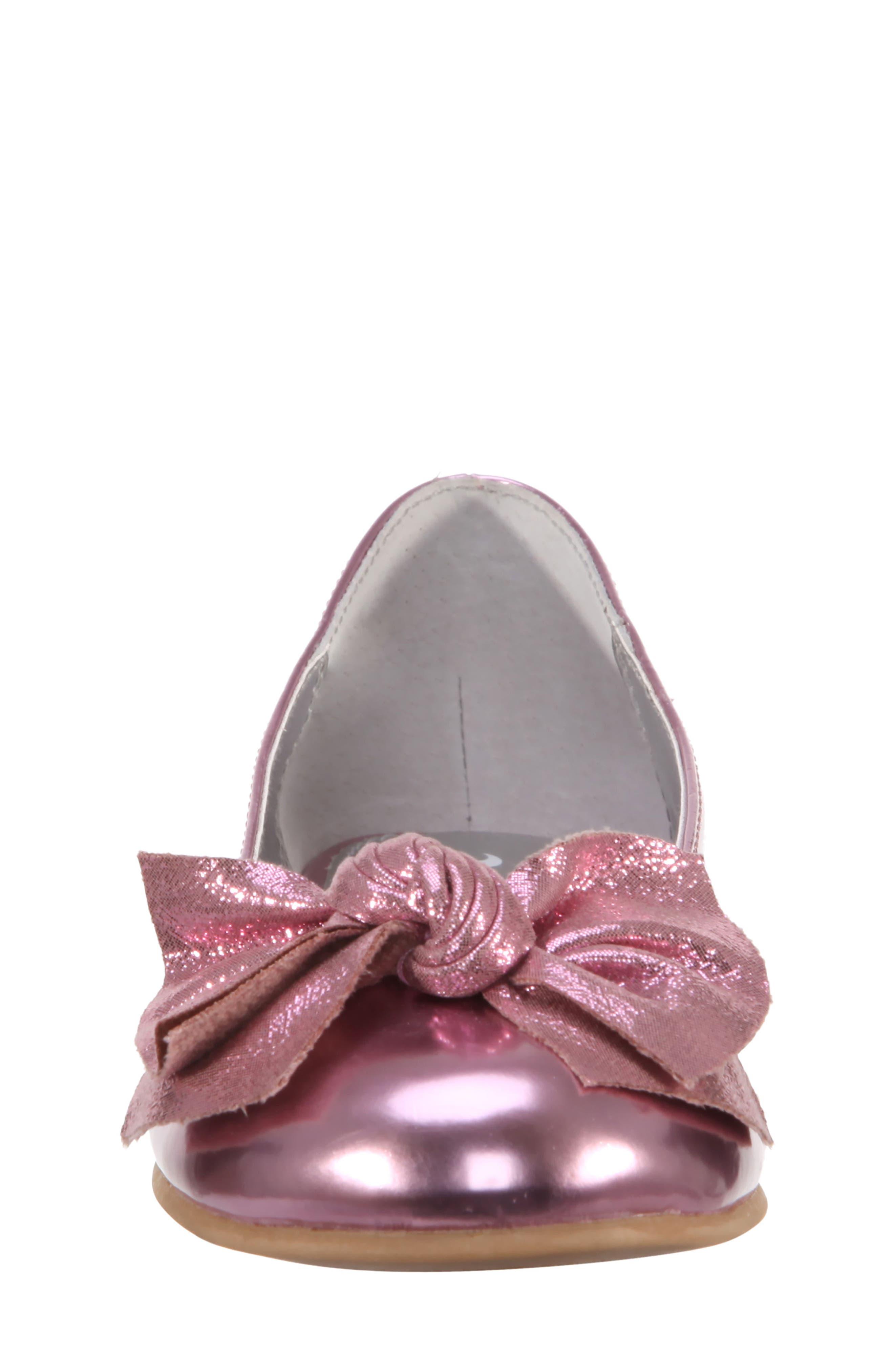 Katelyn Glitter Bow Metallic Ballet Flat,                             Alternate thumbnail 4, color,                             Pink Mirror Metallic