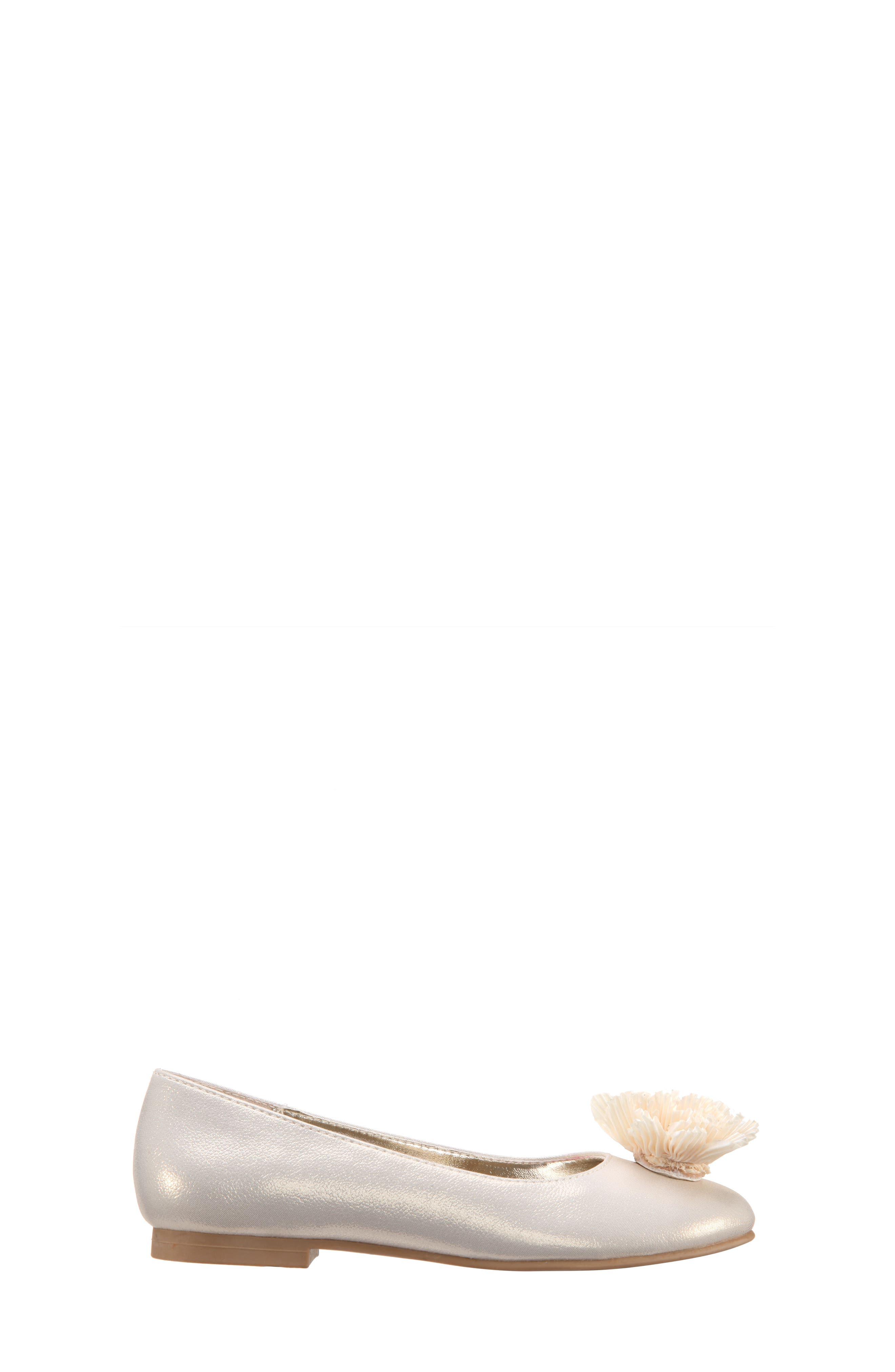 Jemma Flower Ballet Flat,                             Alternate thumbnail 3, color,                             Platino Metallic