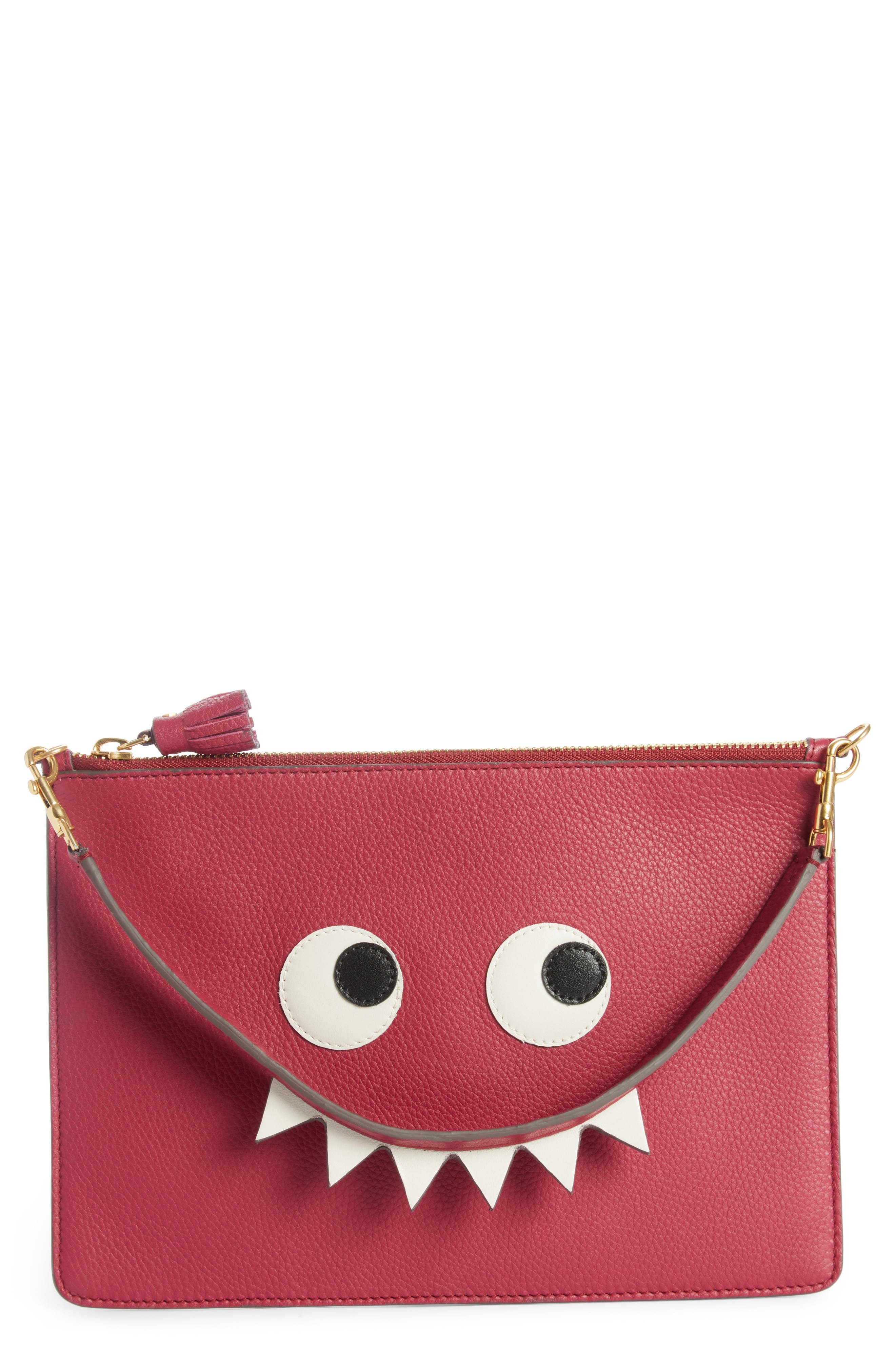 Eyes Leather Zip Pouch,                             Main thumbnail 1, color,                             Raspberry