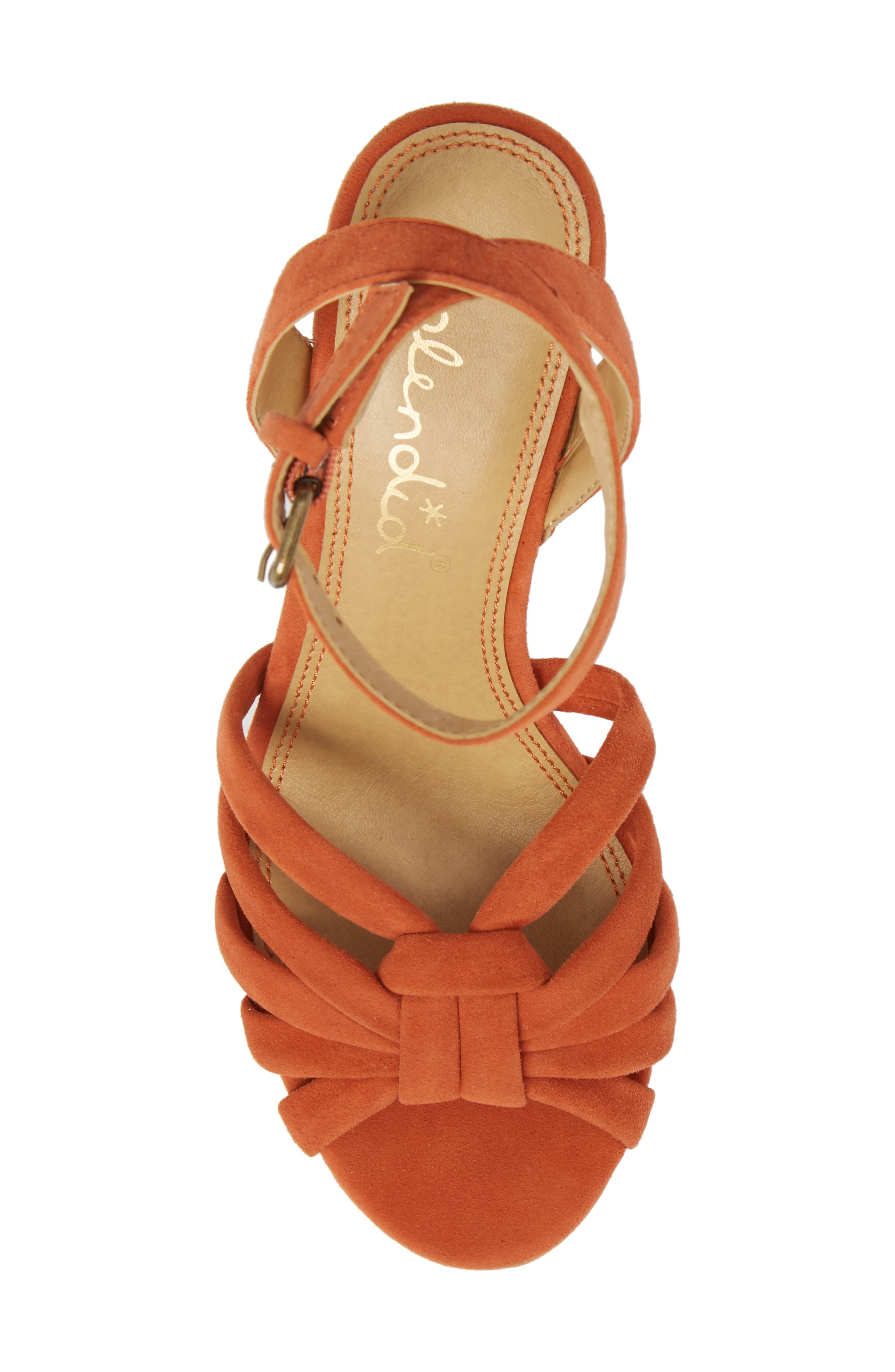 Fallon Wedge Sandal,                             Alternate thumbnail 4, color,                             Coral Suede