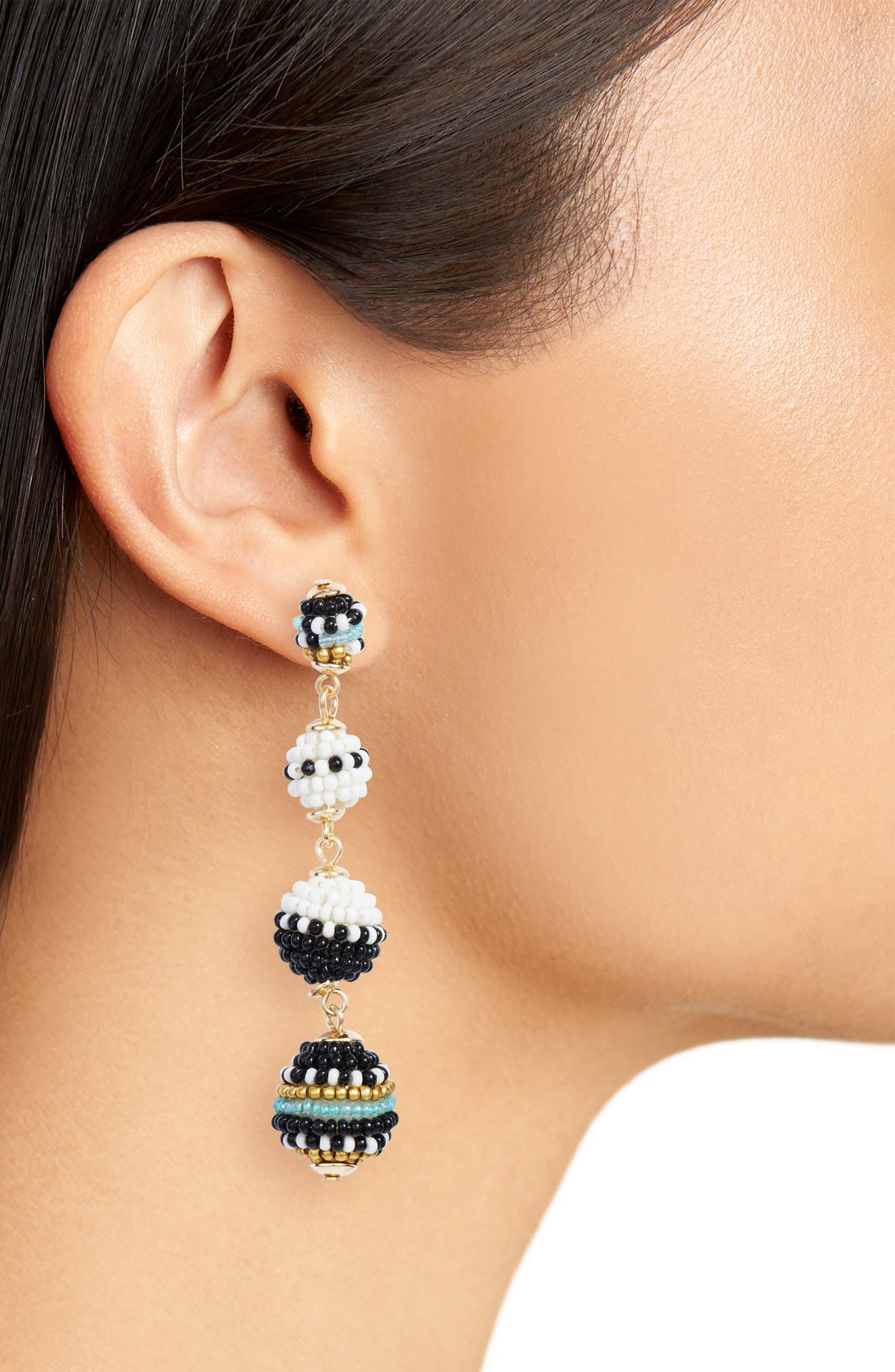 Blair Beaded Ball Drop Earrings,                             Alternate thumbnail 2, color,                             Black/ White Multi