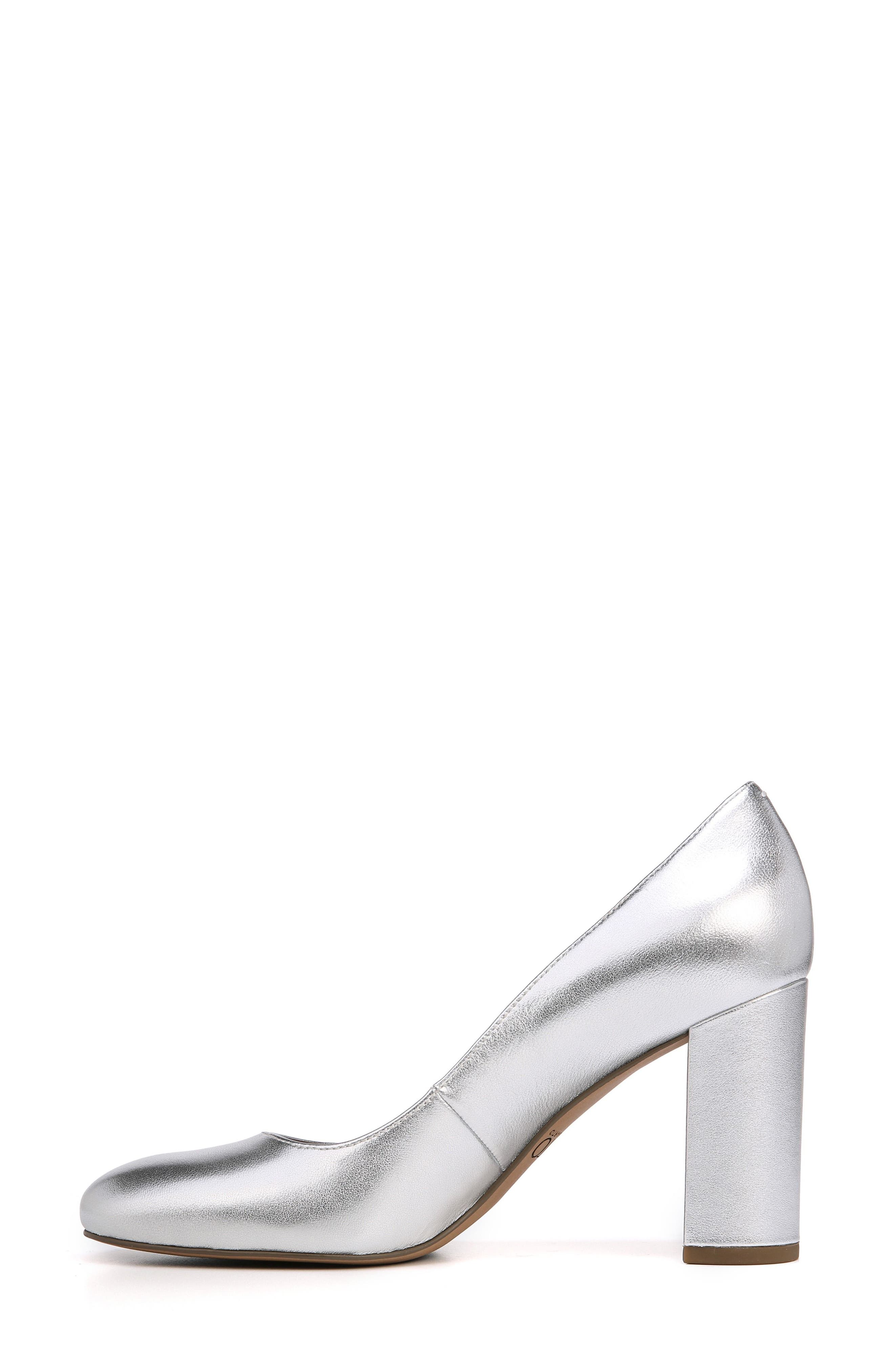 Aziza Block Heel Pump,                             Alternate thumbnail 3, color,                             Silver Leather