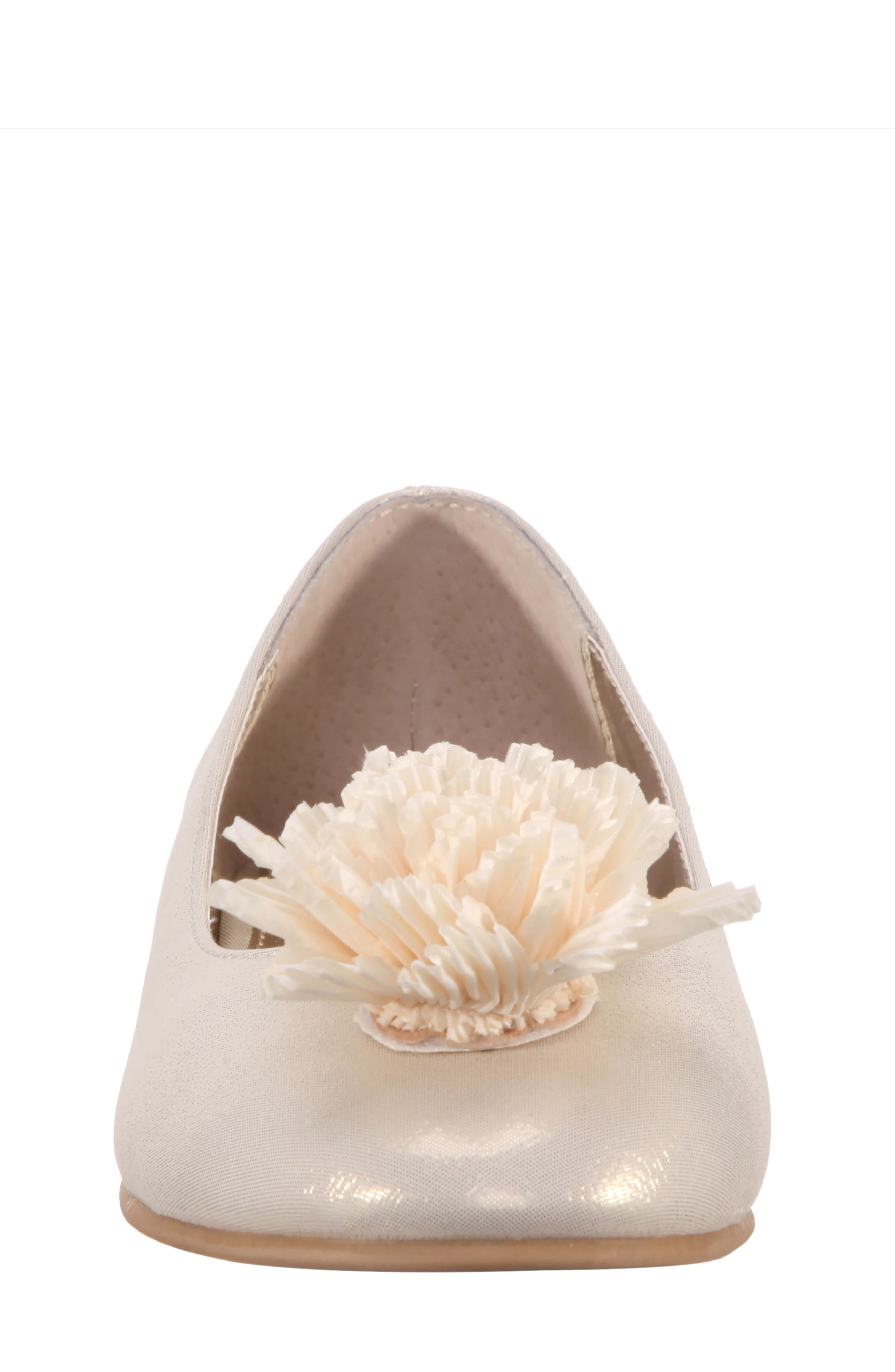 Jemma Flower Ballet Flat,                             Alternate thumbnail 4, color,                             Platino Metallic