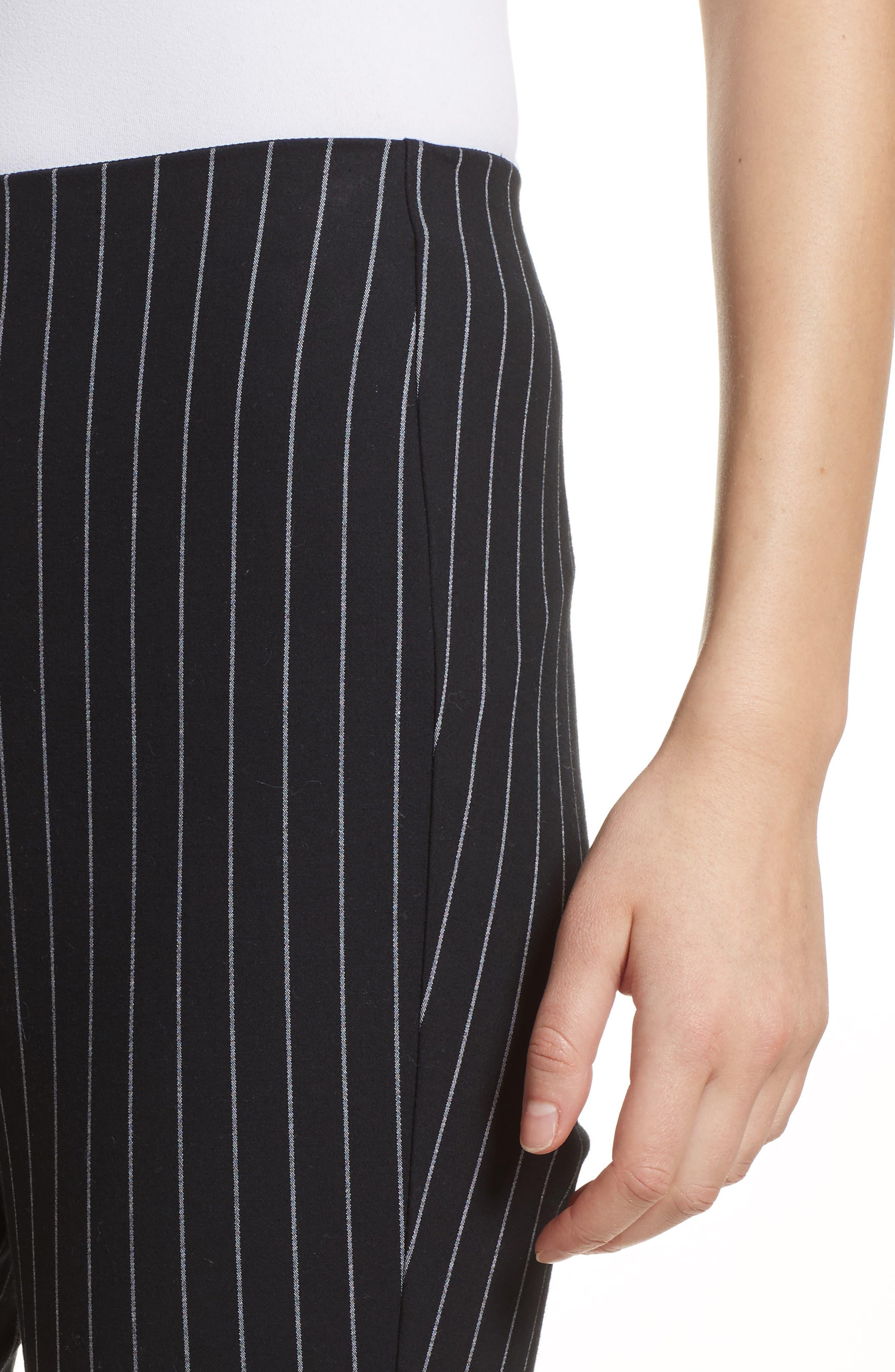 Simone Pinstripe Pants,                             Alternate thumbnail 4, color,                             Black/ White