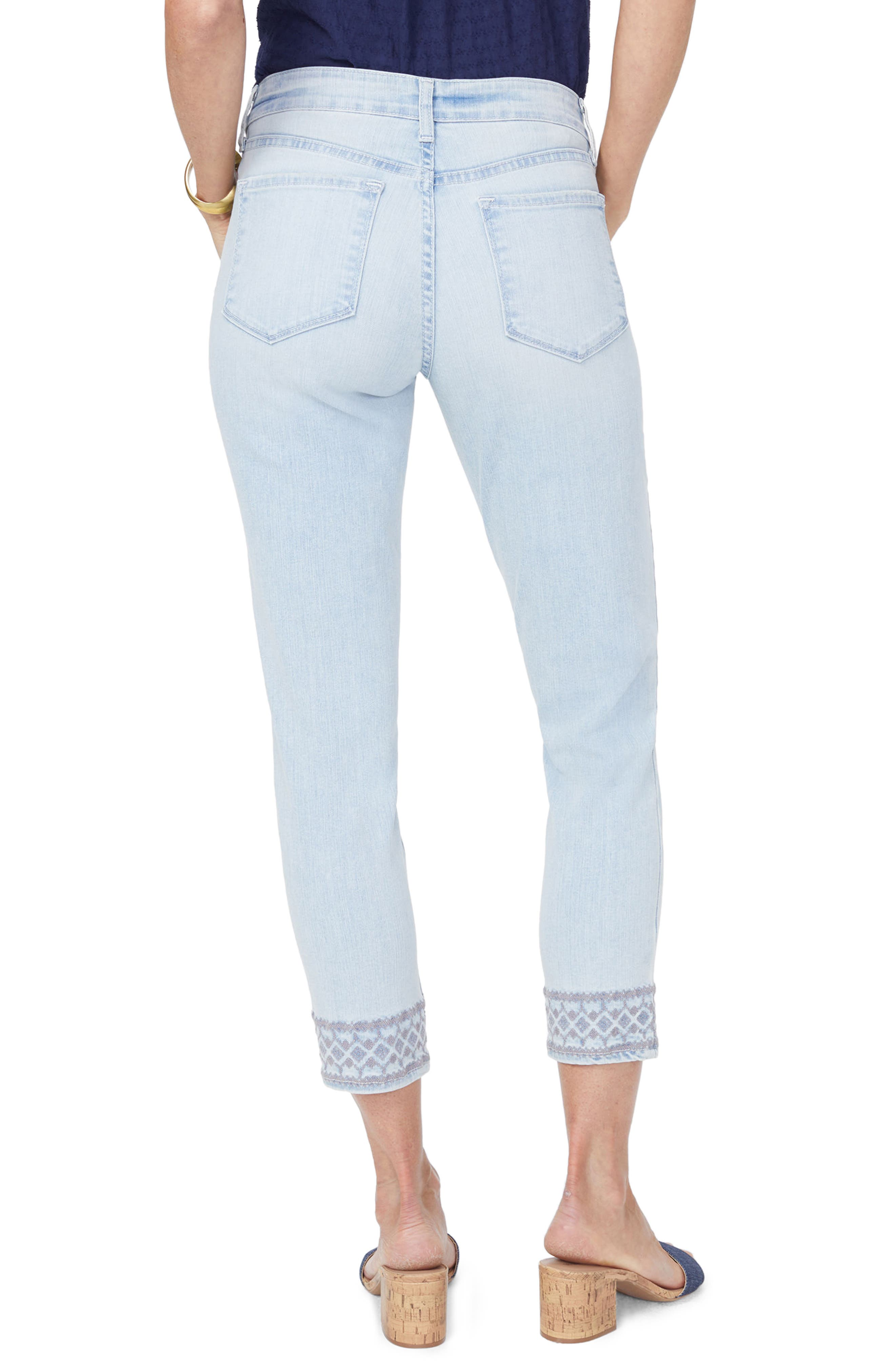 Ami Embroidered Border Ankle Skinny Jeans,                             Alternate thumbnail 2, color,                             Palm Desert
