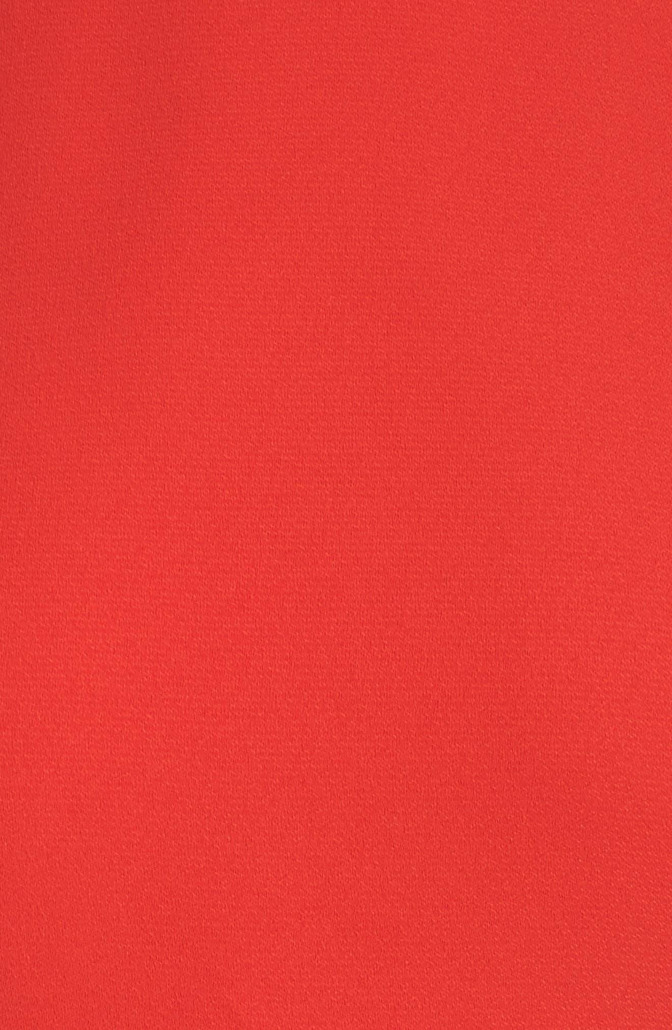 Ruffle Edge Sheath Dress,                             Alternate thumbnail 5, color,                             Coral