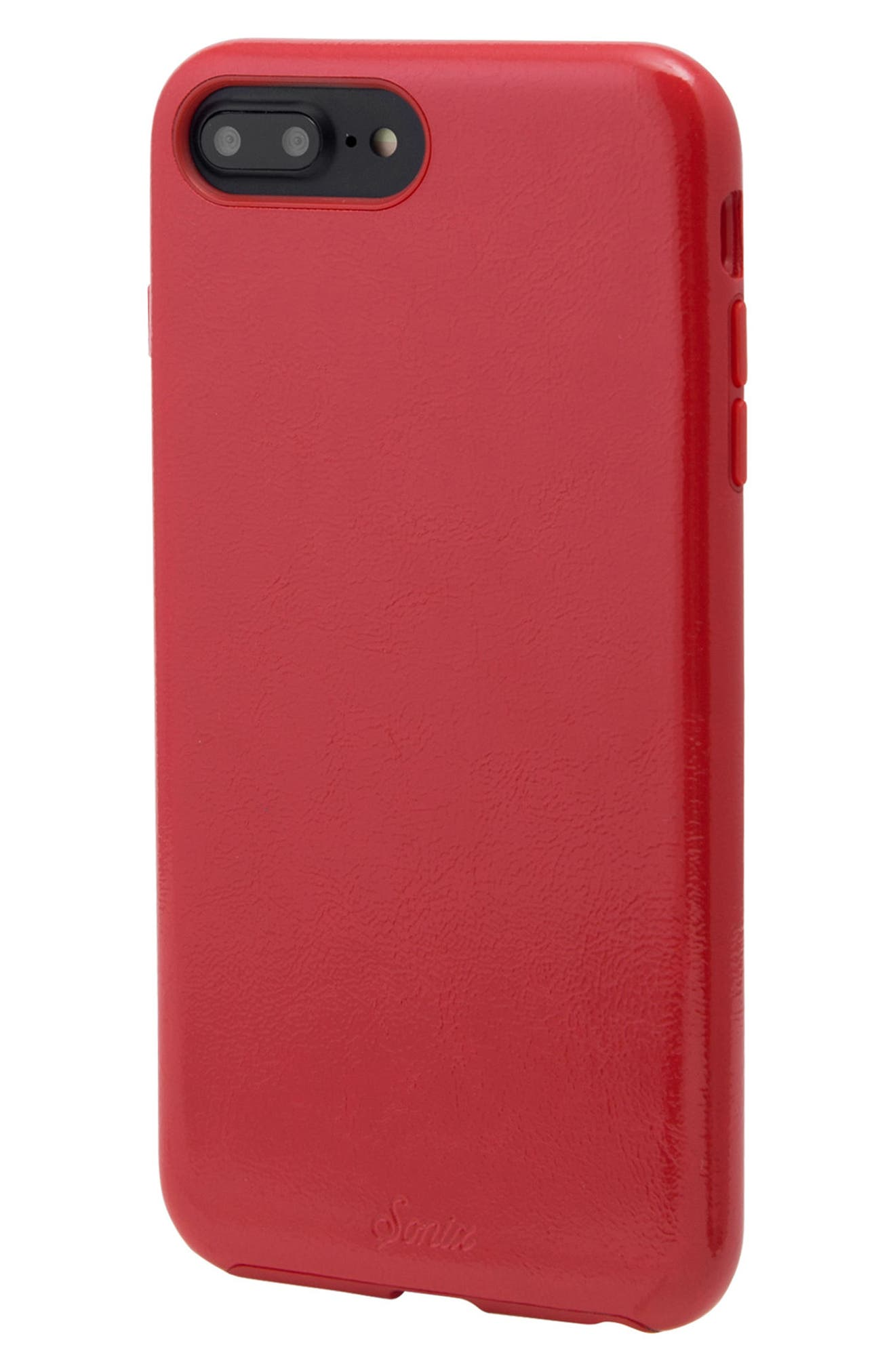 Cherry Faux Leather iPhone 6/6s/7/8 Plus Case,                             Alternate thumbnail 2, color,                             Cherry Red
