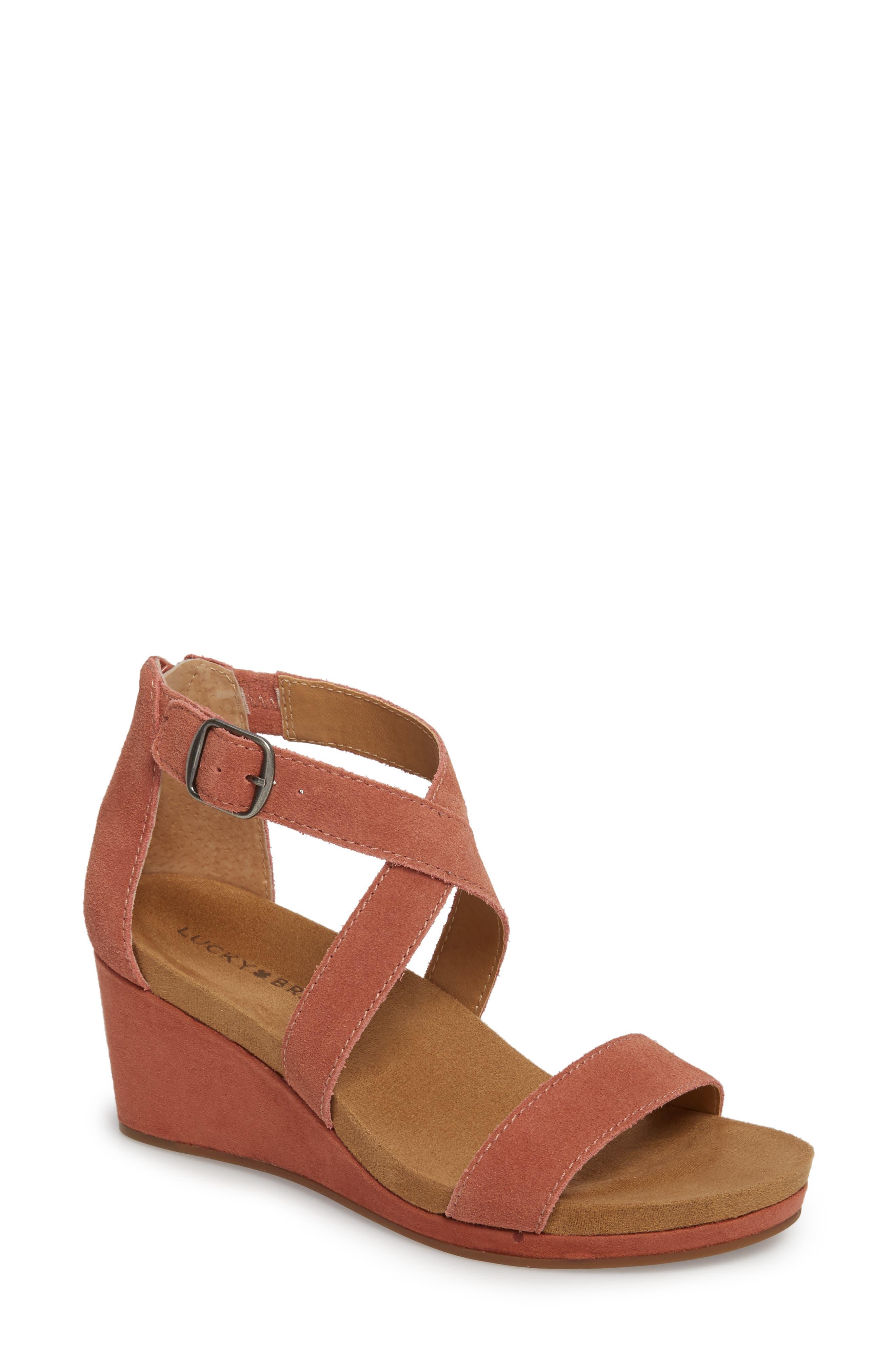 Kenadee Wedge Sandal,                         Main,                         color, Canyon Rose Suede