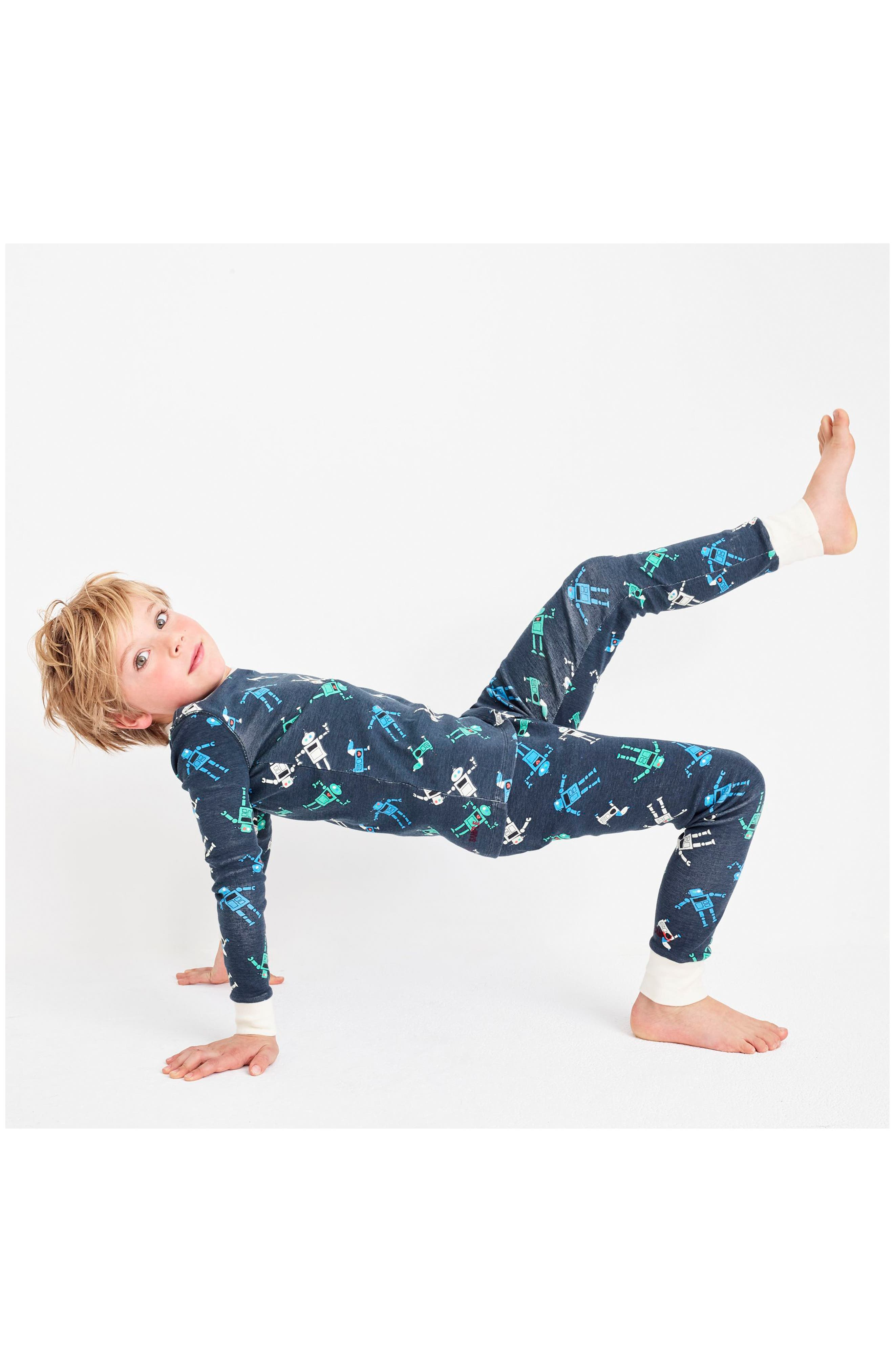 Robots Fitted Two-Piece Pajamas,                             Alternate thumbnail 3, color,                             Charcoal