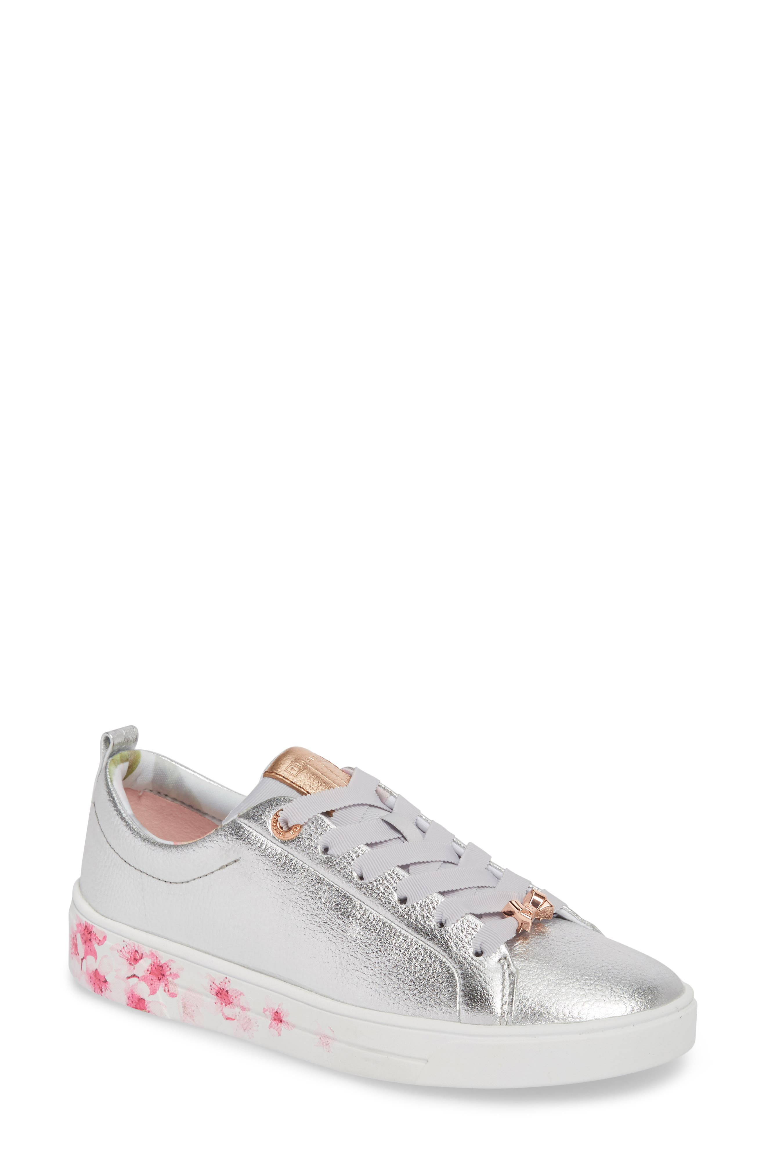 Kelleip Sneaker,                         Main,                         color, Silver/ Blossom Leather