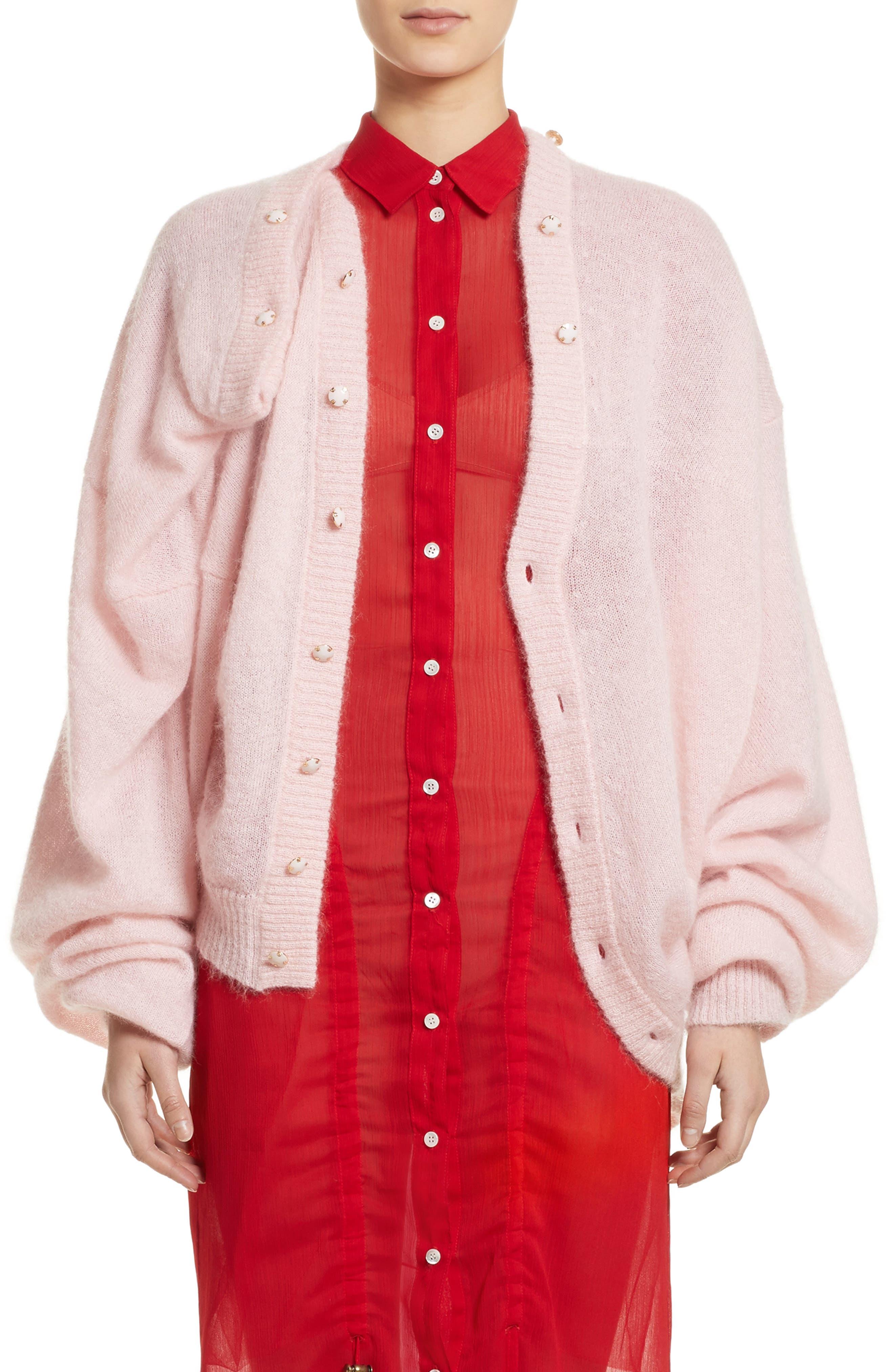 Drape Cardigan,                             Main thumbnail 1, color,                             Pink