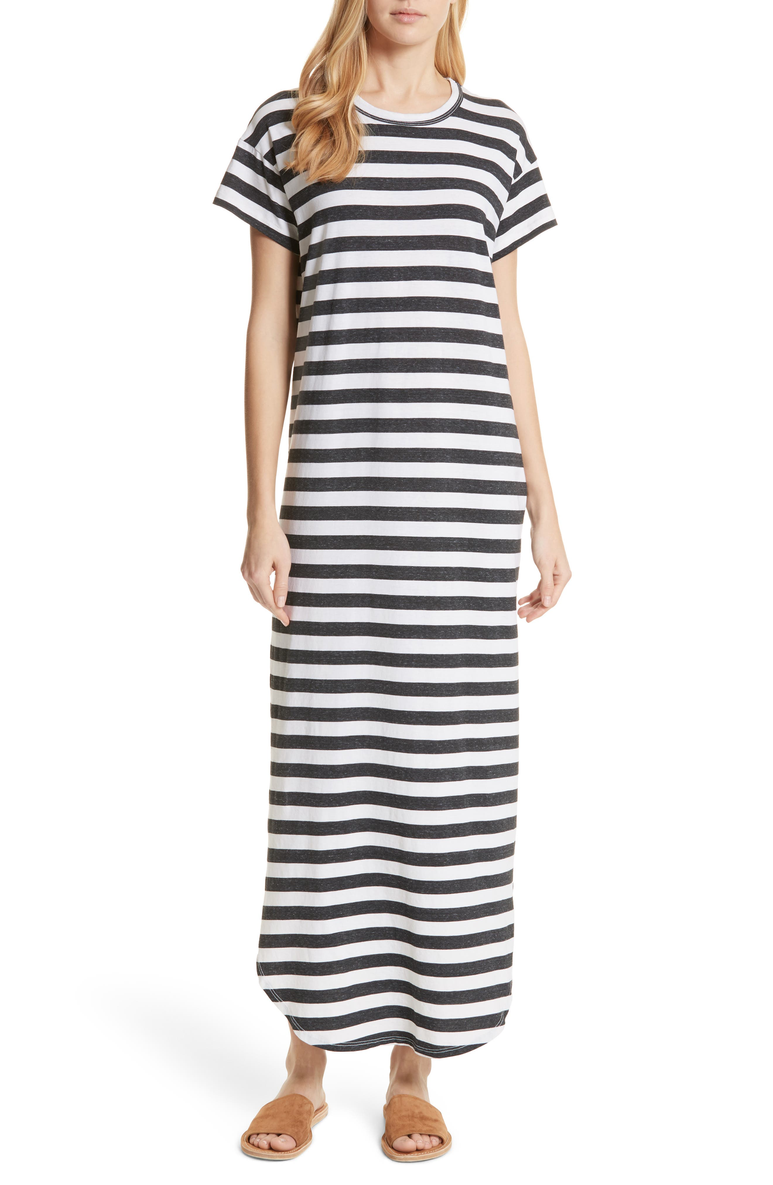 The Knotted Tee Dress,                             Main thumbnail 1, color,                             Charcoal Stripe