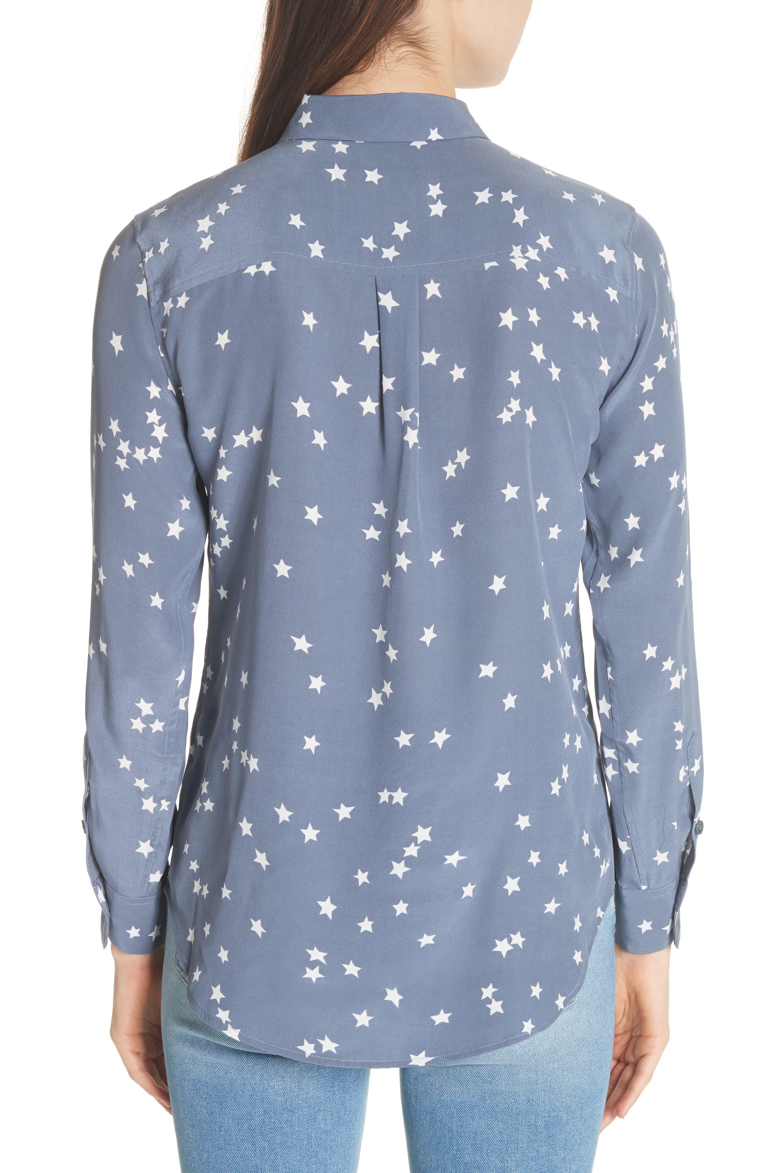 'Starry Night' Silk Shirt,                             Alternate thumbnail 2, color,                             Bluestone