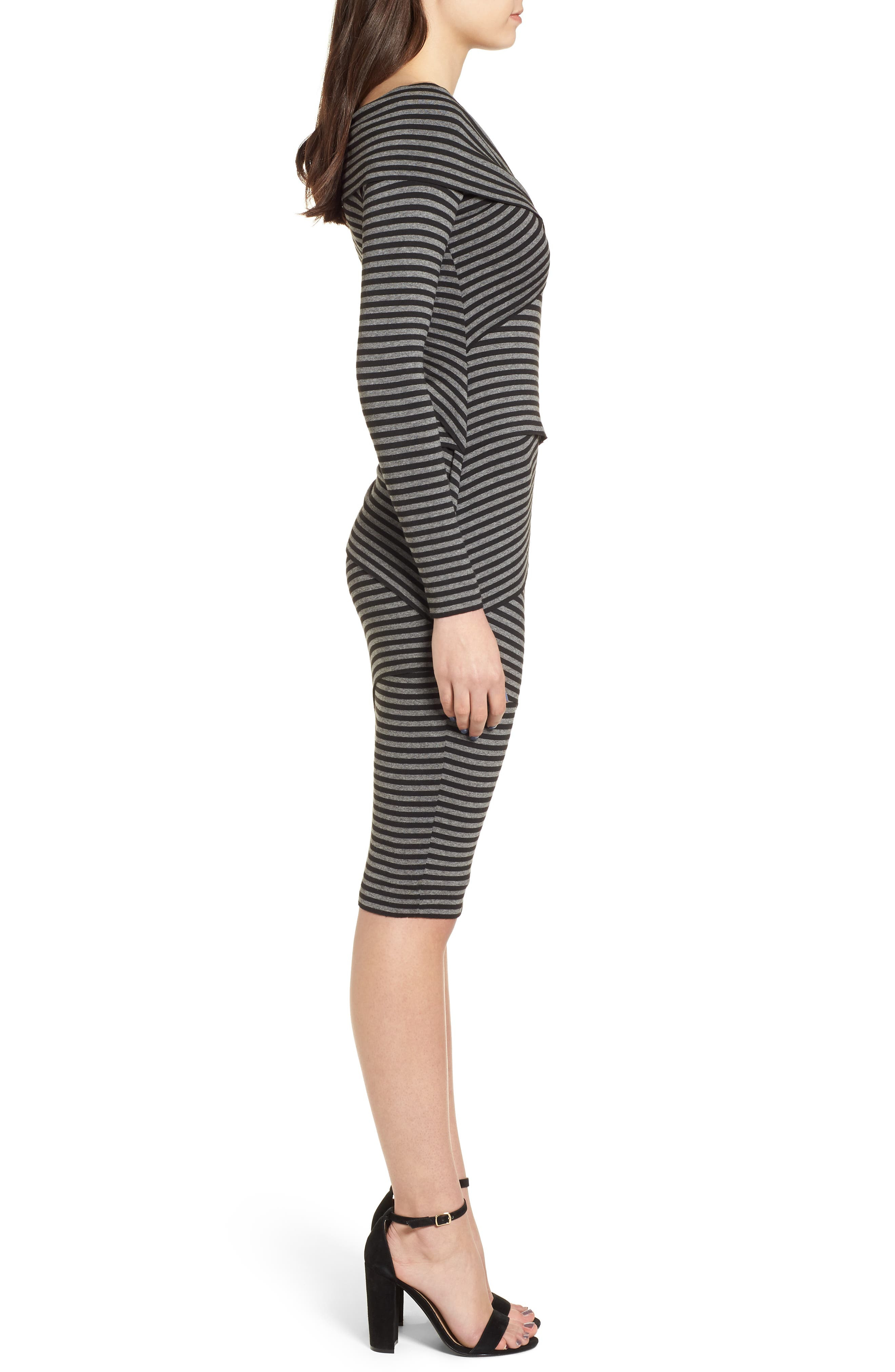 Edamame Body-Con Dress,                             Alternate thumbnail 3, color,                             Black Grey