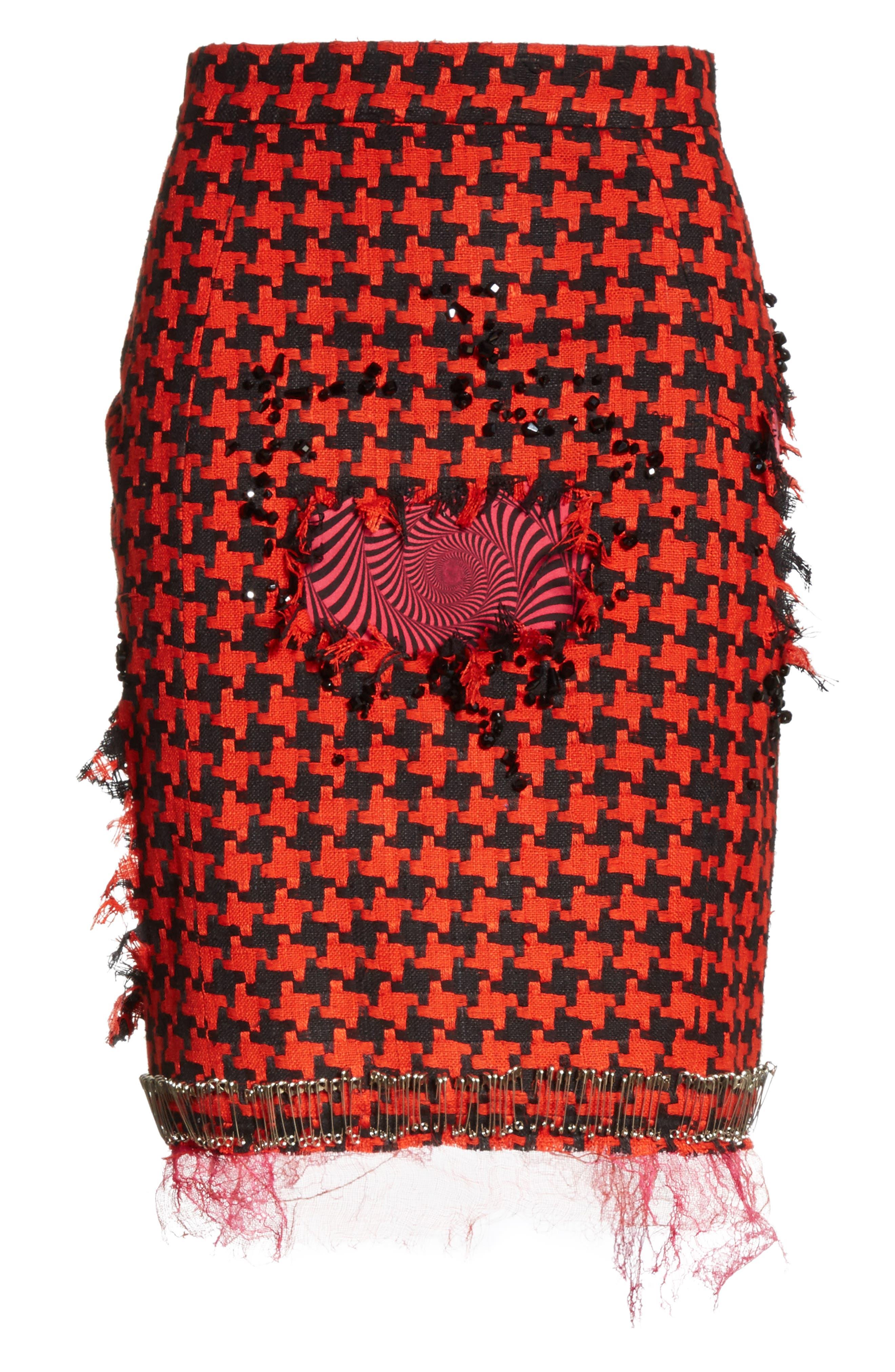 Prime Minister Houndstooth Wool Skirt,                             Alternate thumbnail 6, color,                             Red