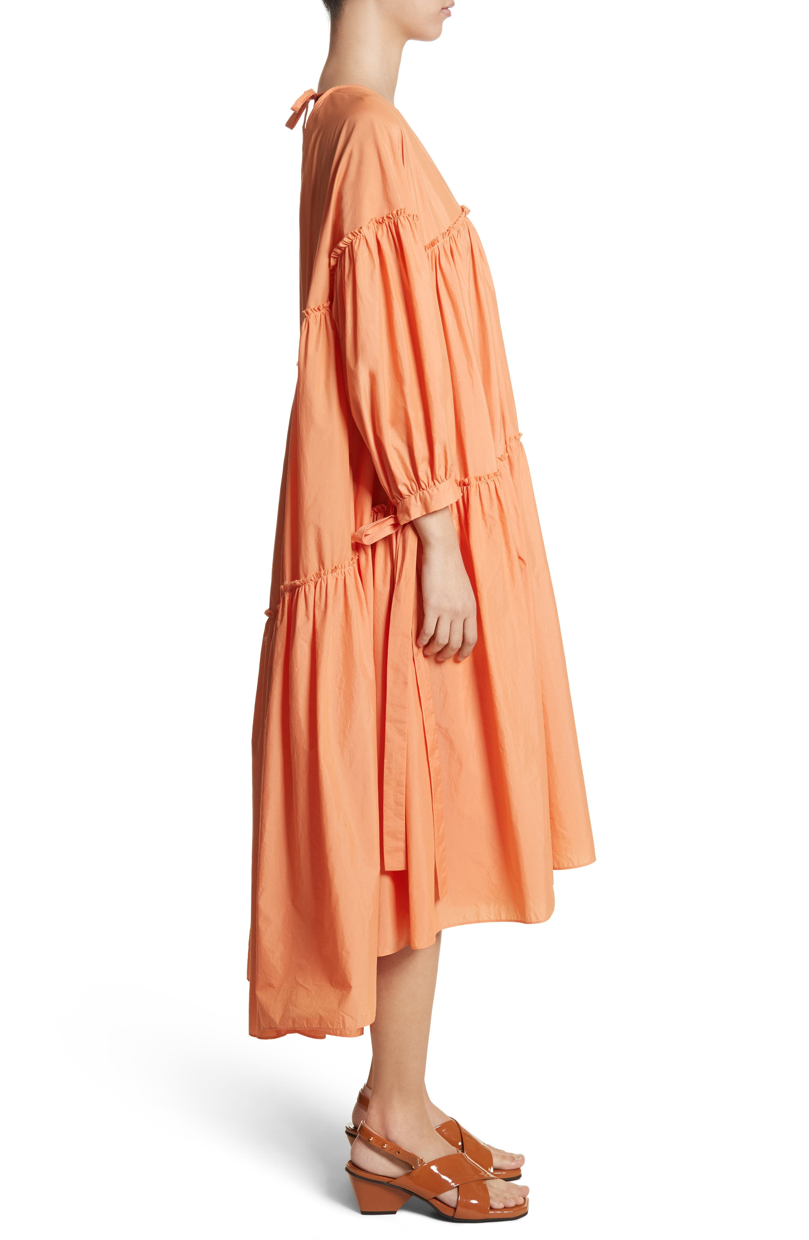 Sara Tiered Shift Dress,                             Alternate thumbnail 4, color,                             Cotton Orange