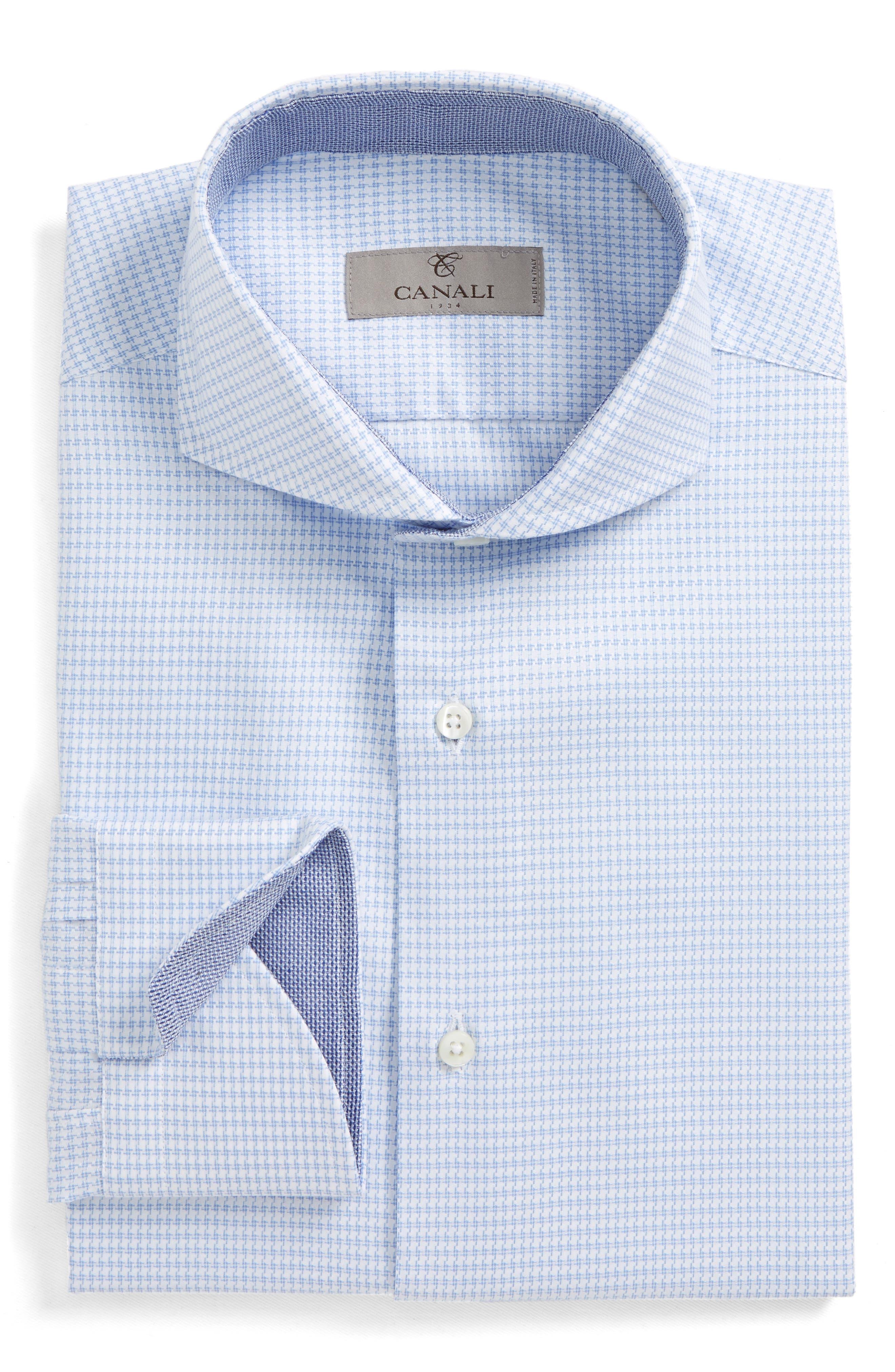 Regular Fit Houndstooth Dress Shirt,                             Main thumbnail 1, color,                             Light Blue