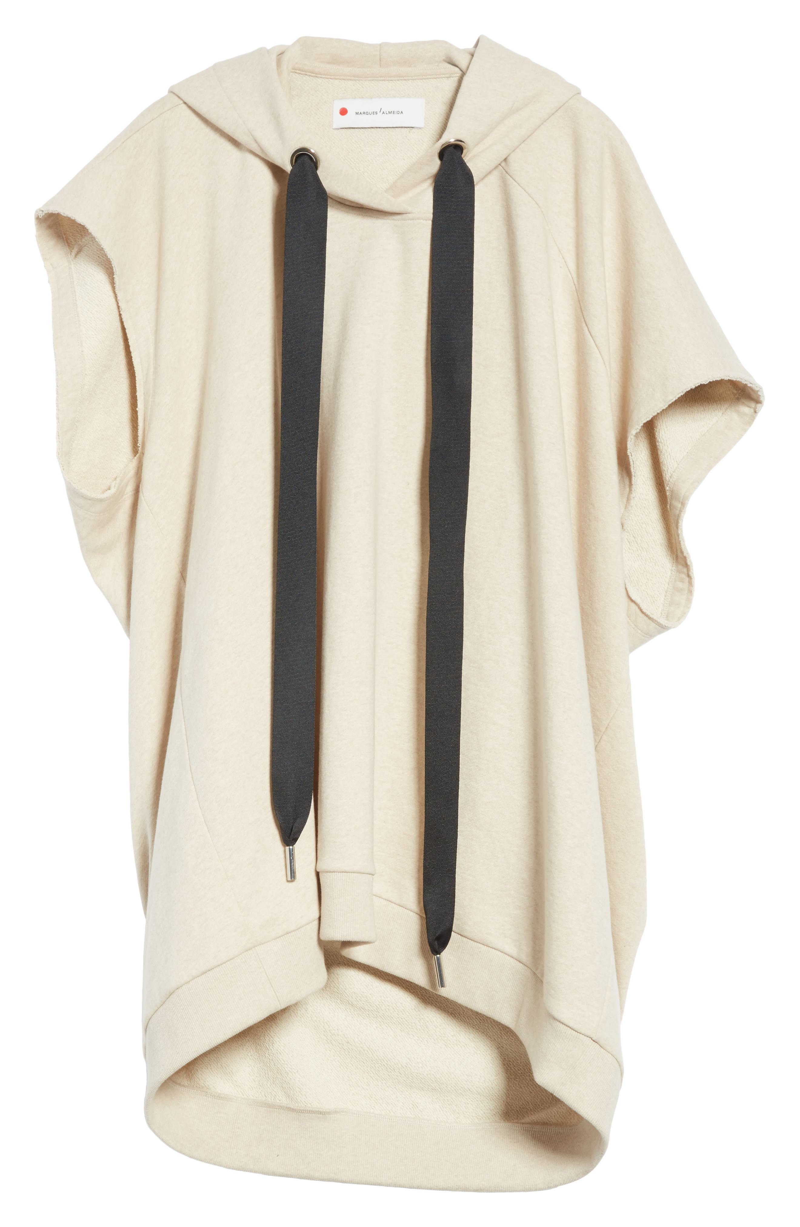 Marques'Almeida Asymmetrical Cap Sleeve Hoodie,                             Alternate thumbnail 7, color,                             Beige Melange