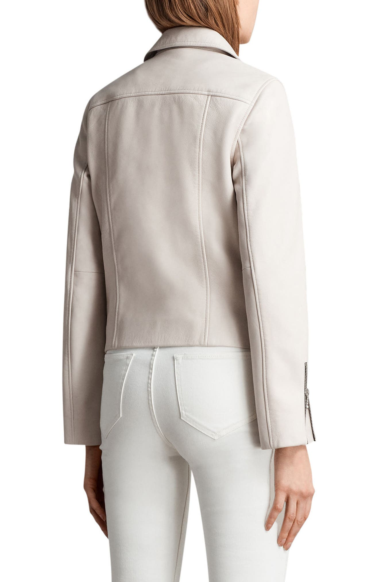Prescott Leather Biker Jacket,                             Alternate thumbnail 2, color,                             Aries White