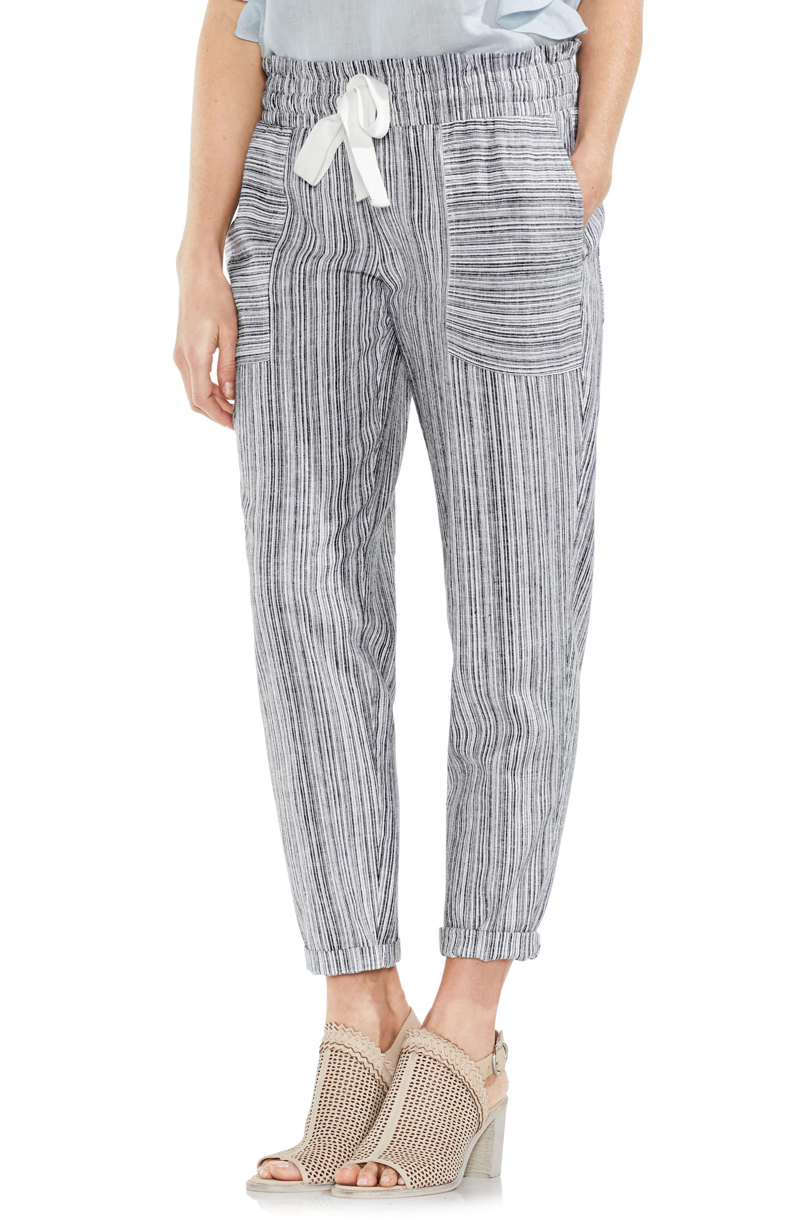 Slim Drawstring Stripe Pants,                         Main,                         color, Rich Black