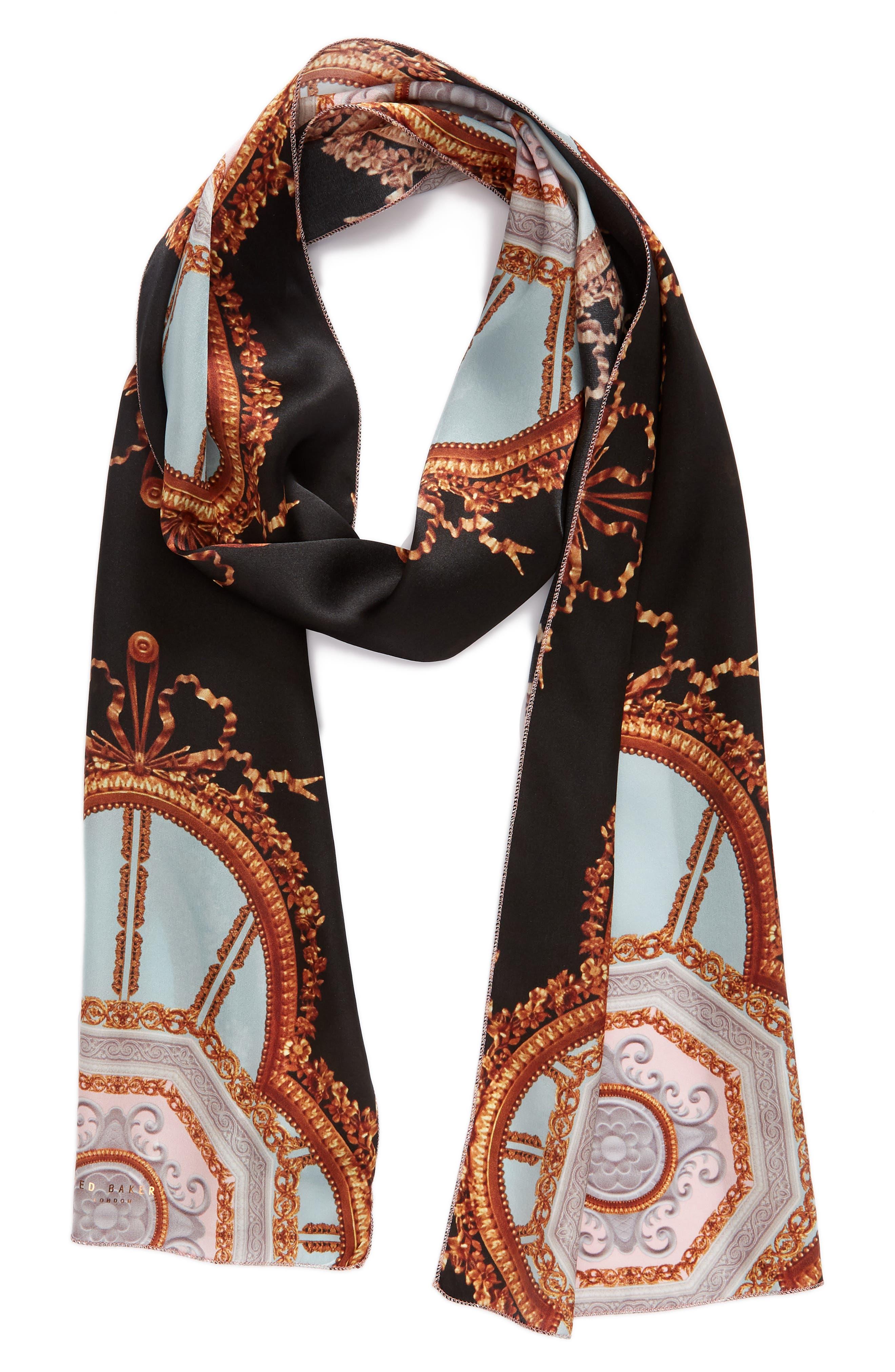 Versailles Skinny Silk Scarf,                             Alternate thumbnail 2, color,                             Black