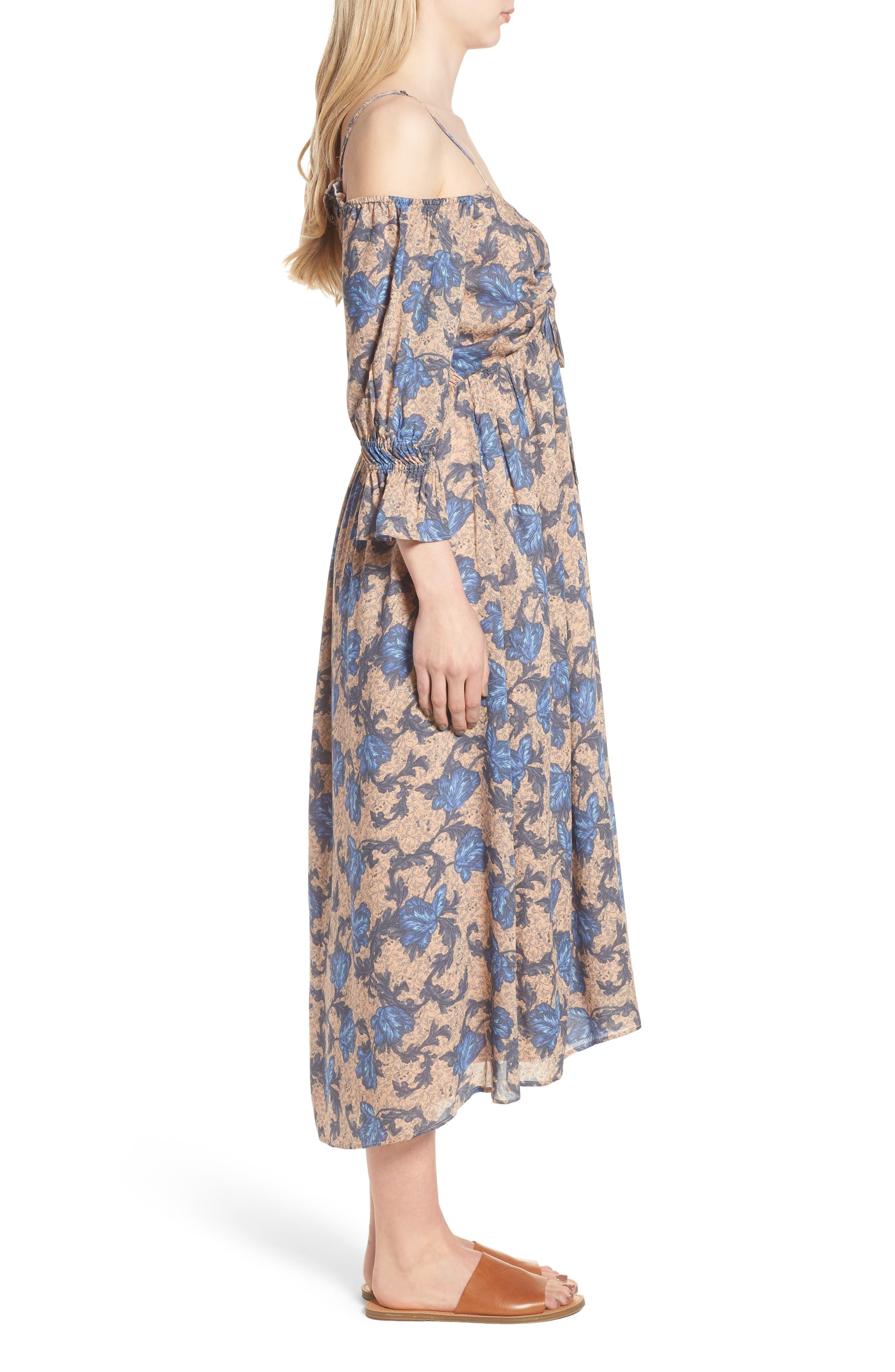 Smocked Back Cold Shoulder Dress,                             Alternate thumbnail 3, color,                             Beige Maple Wallpaper Ivy