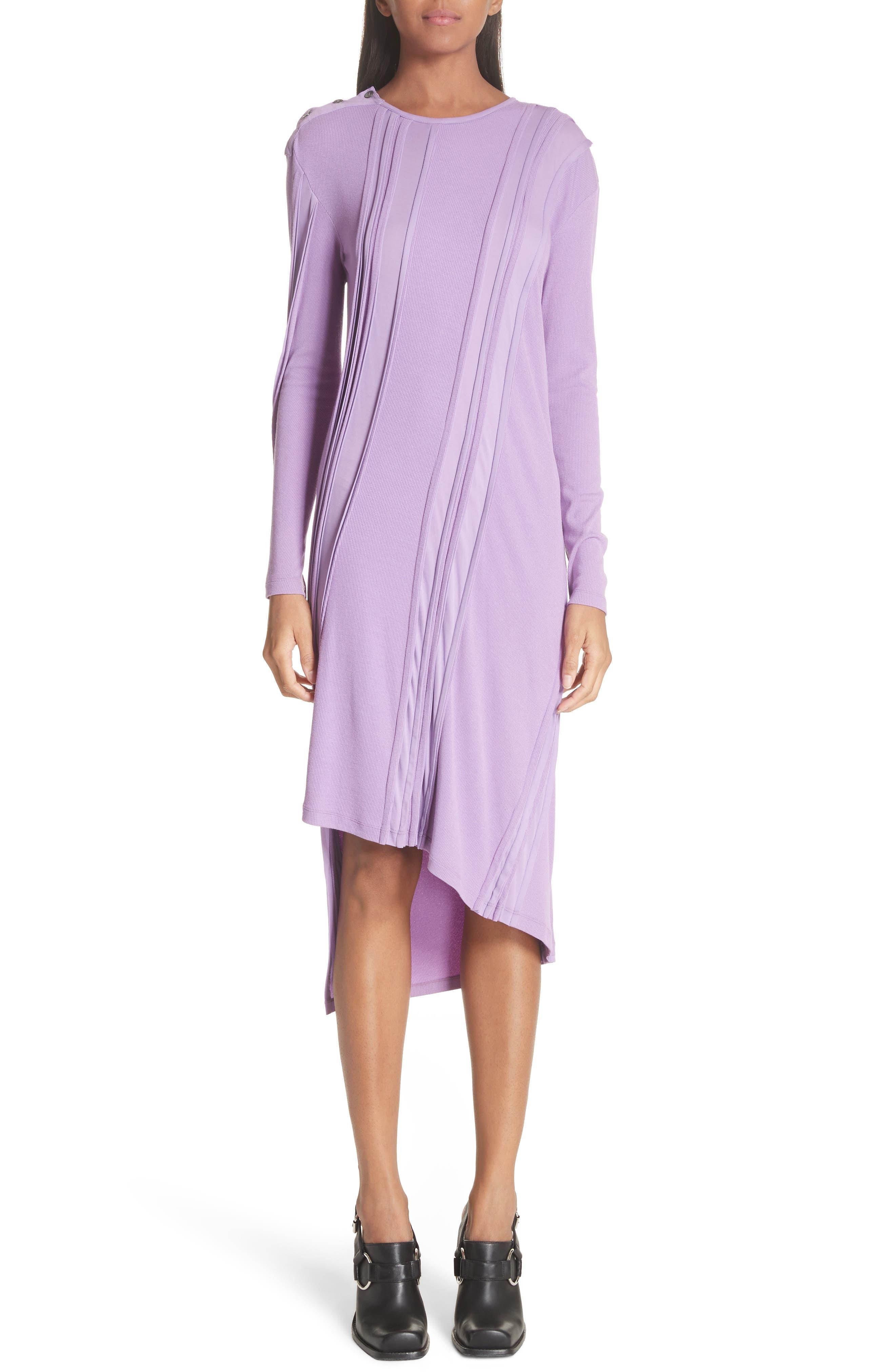 ATLEIN Crepe Stripe Asymmetrical Jersey Dress