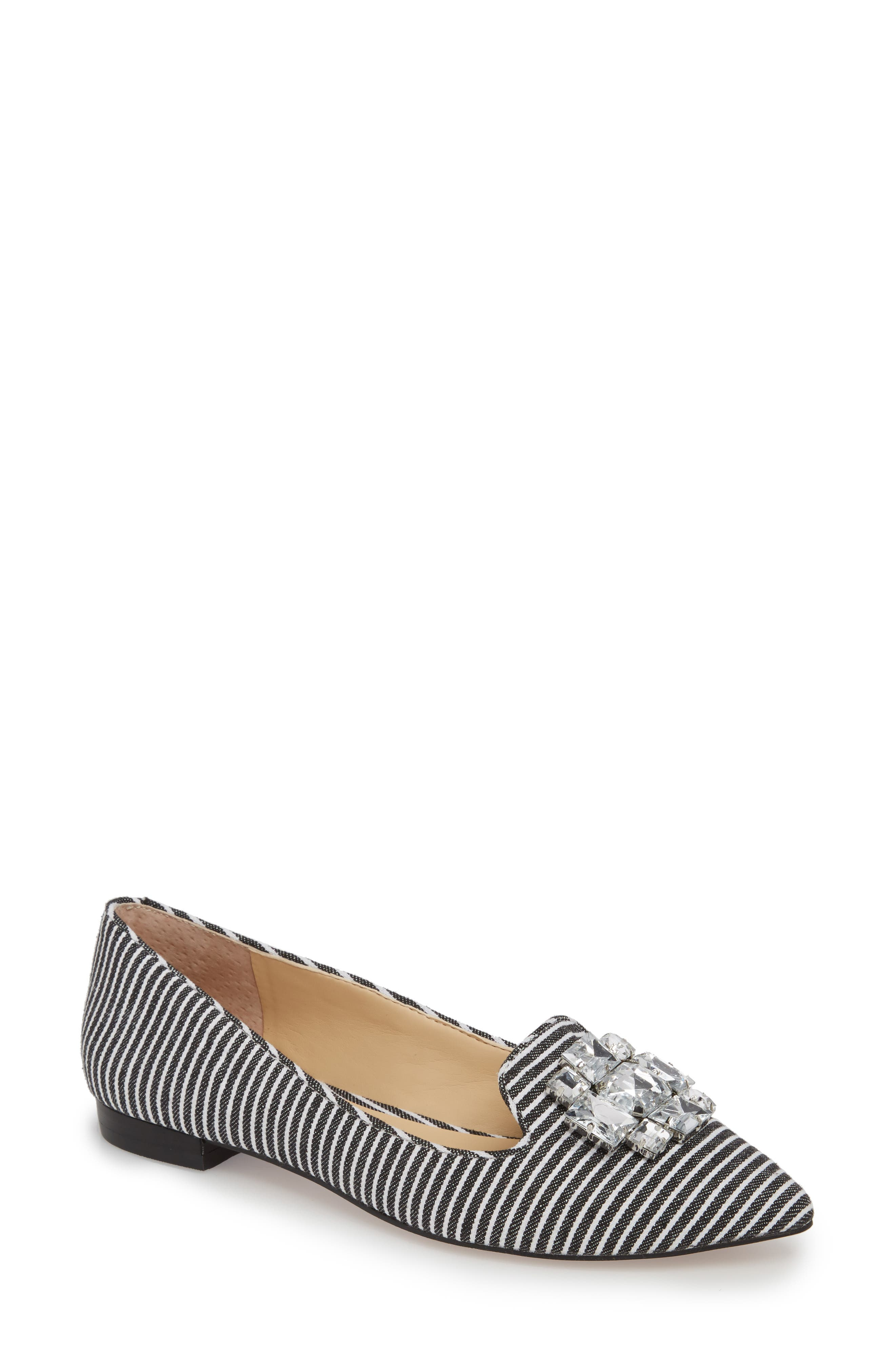 Libry Crystal Embellished Flat,                         Main,                         color, Black/ White Fabric