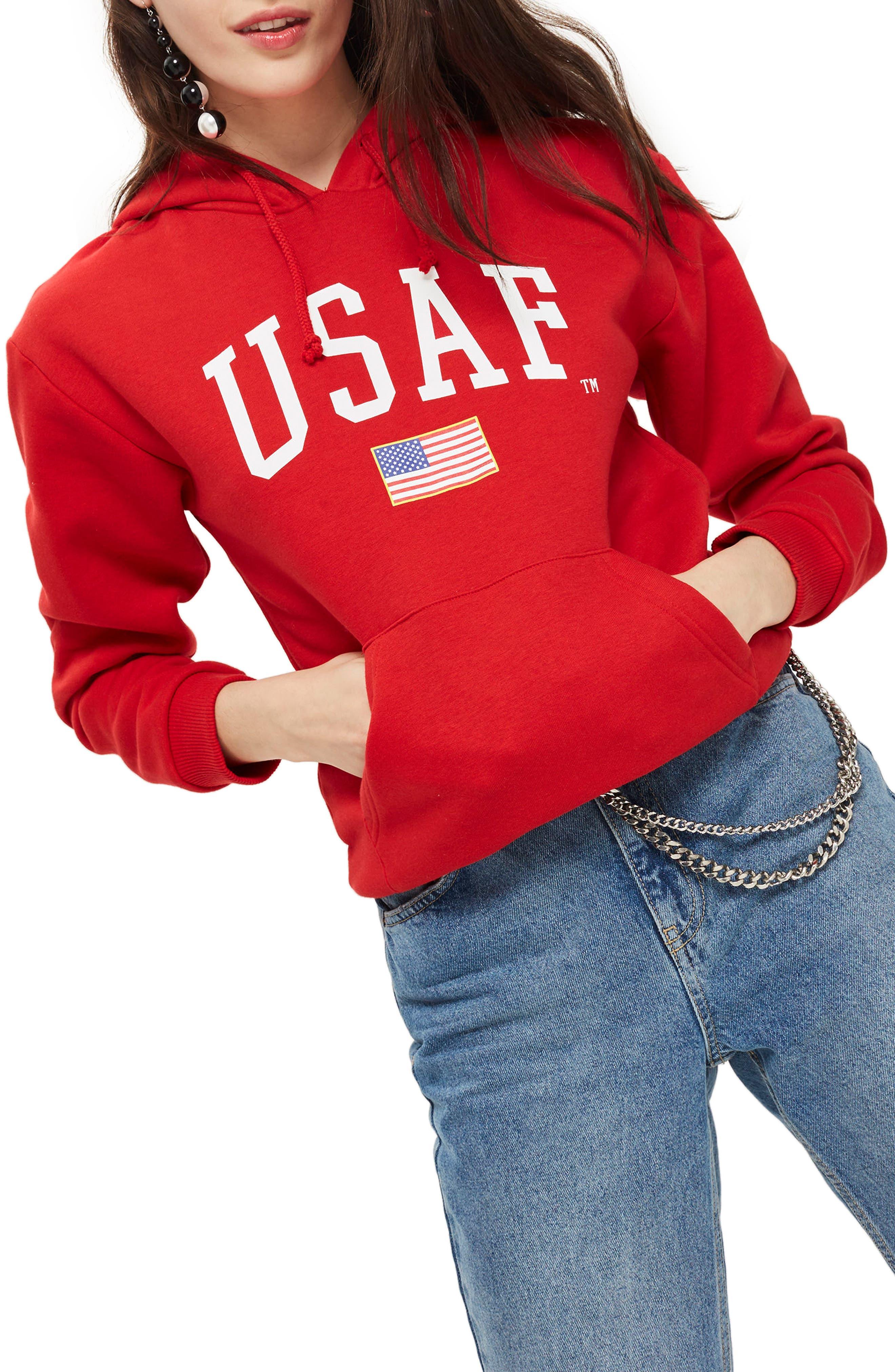 by Tee & Cake USAF Logo Hoodie,                         Main,                         color, Red Multi