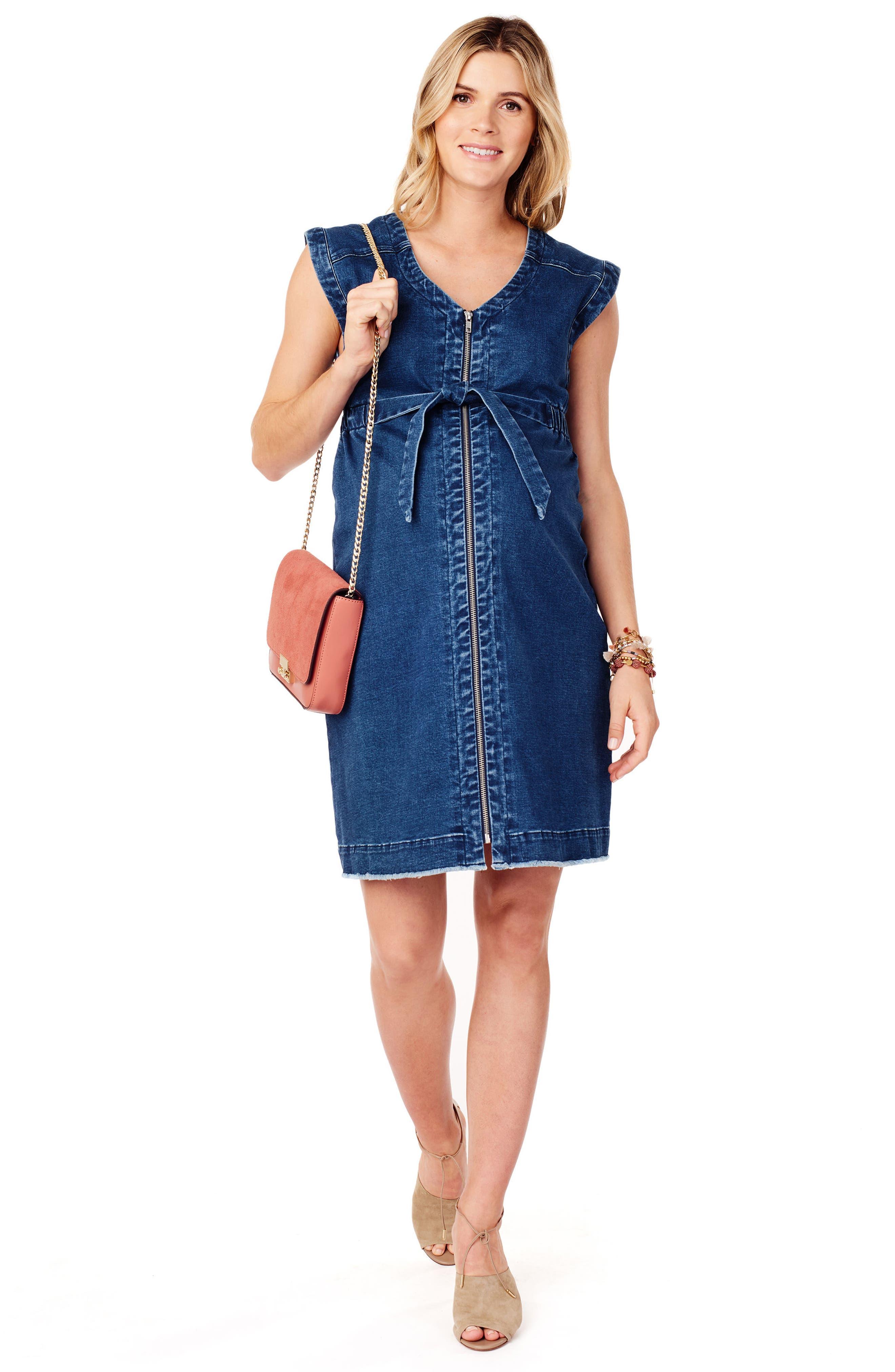 Front Zip Denim Maternity/Nursing Dress,                             Alternate thumbnail 5, color,                             Medium Wash