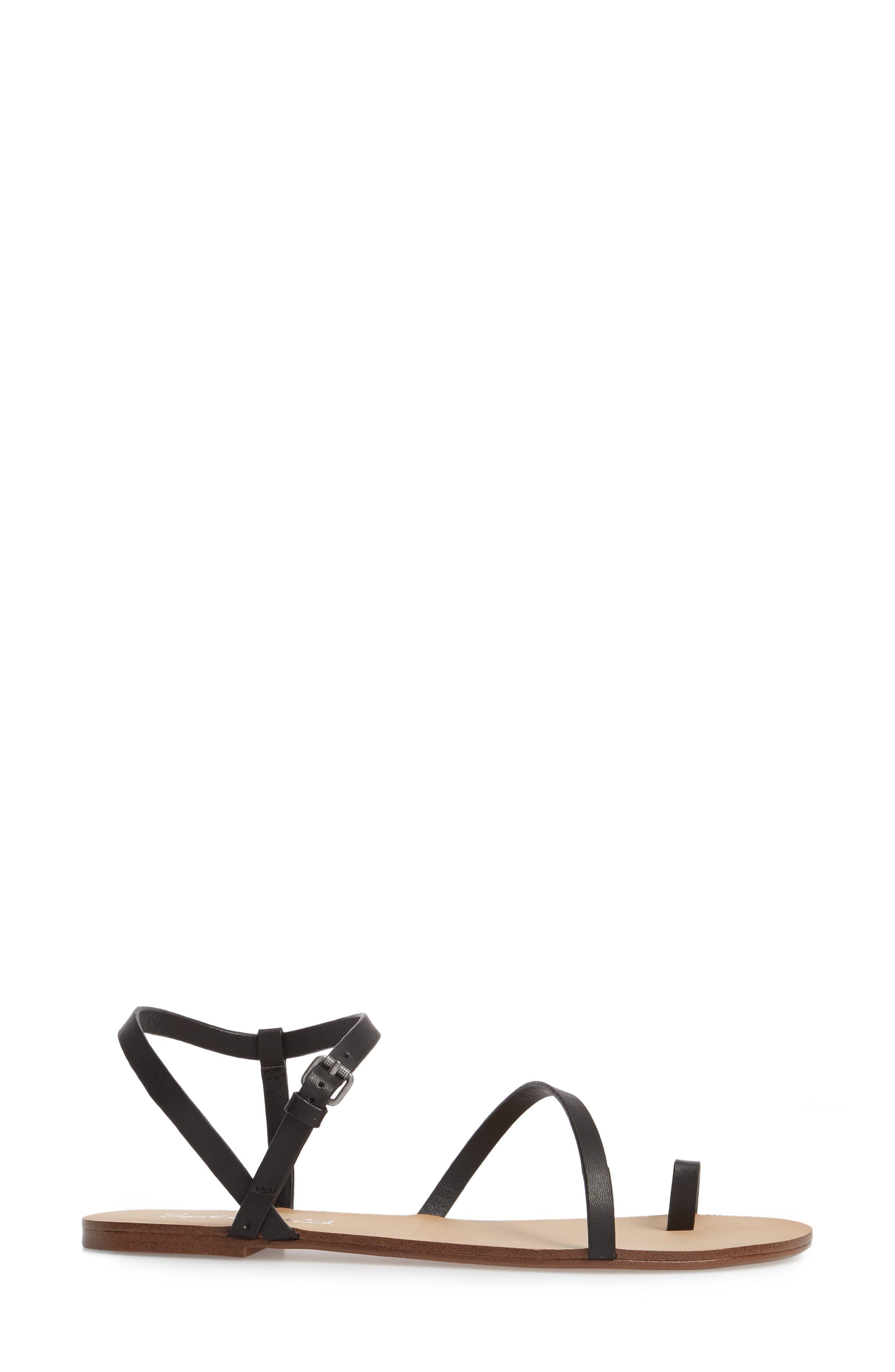 Flower Sandal,                             Alternate thumbnail 3, color,                             Black Leather