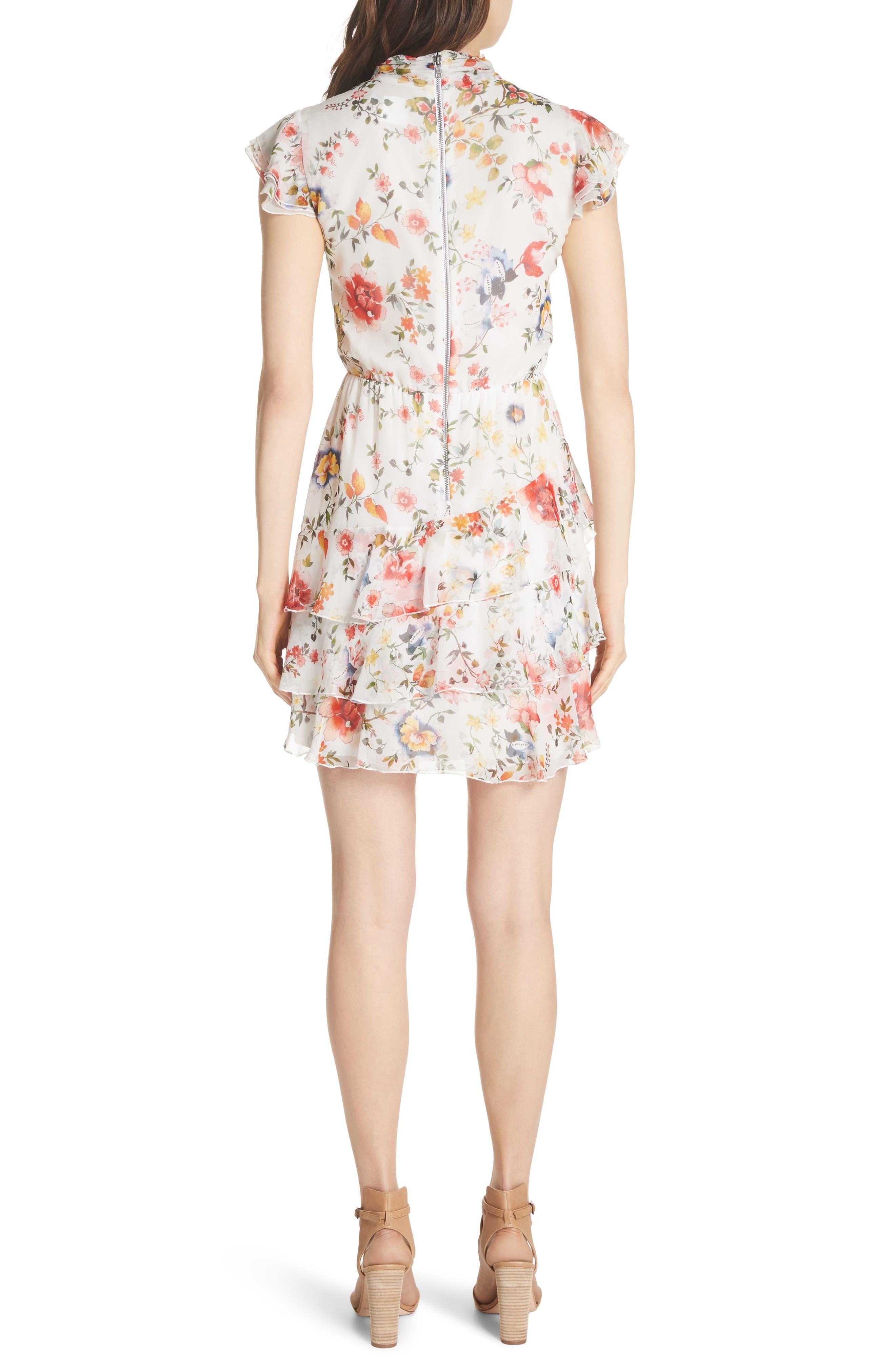 Lessie Ruffled Floral Silk Dress,                             Alternate thumbnail 2, color,                             Floral Soiree-Soft White