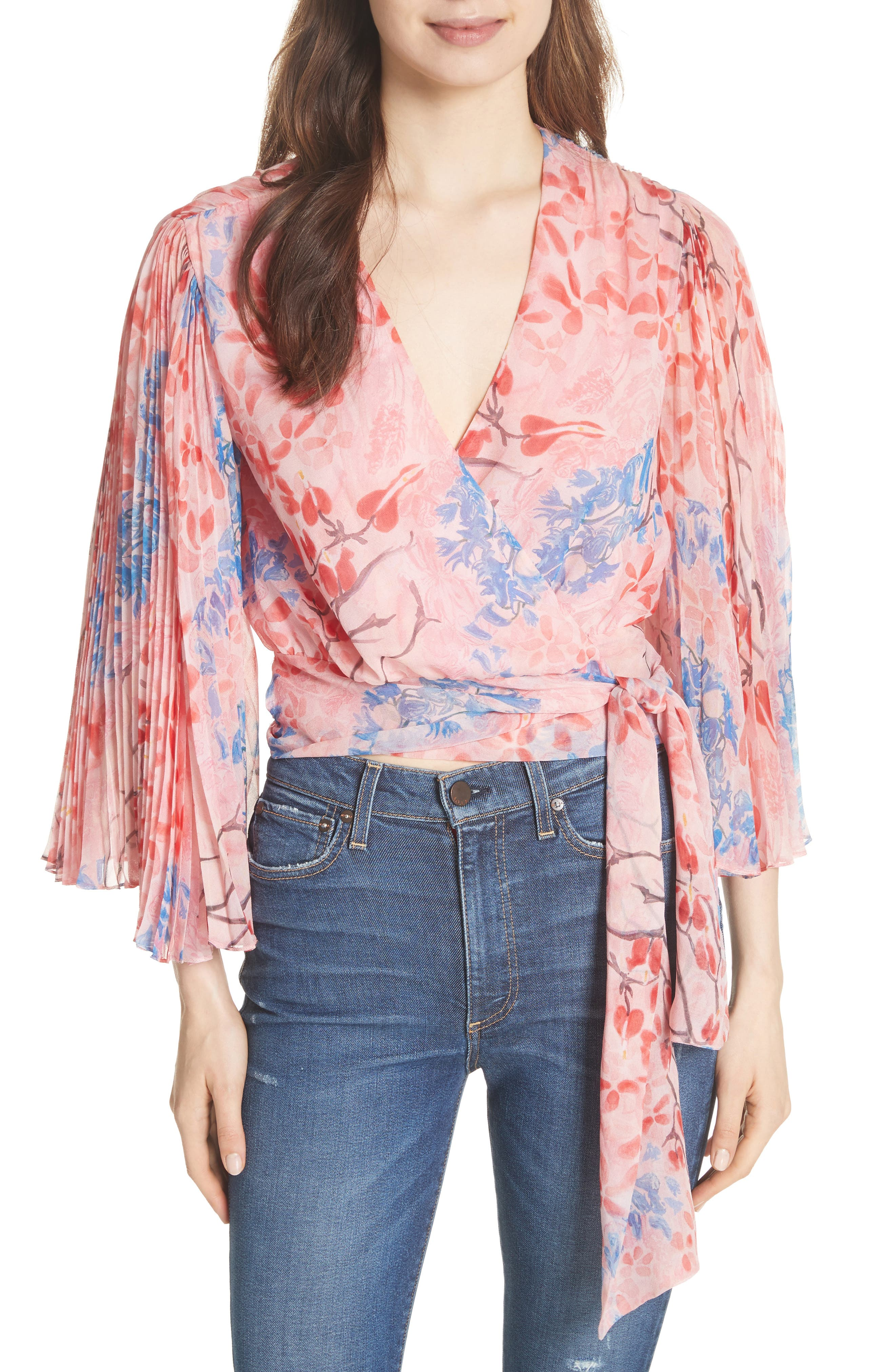 Pleat Sleeve Silk Wrap Top,                             Main thumbnail 1, color,                             Lola Floral