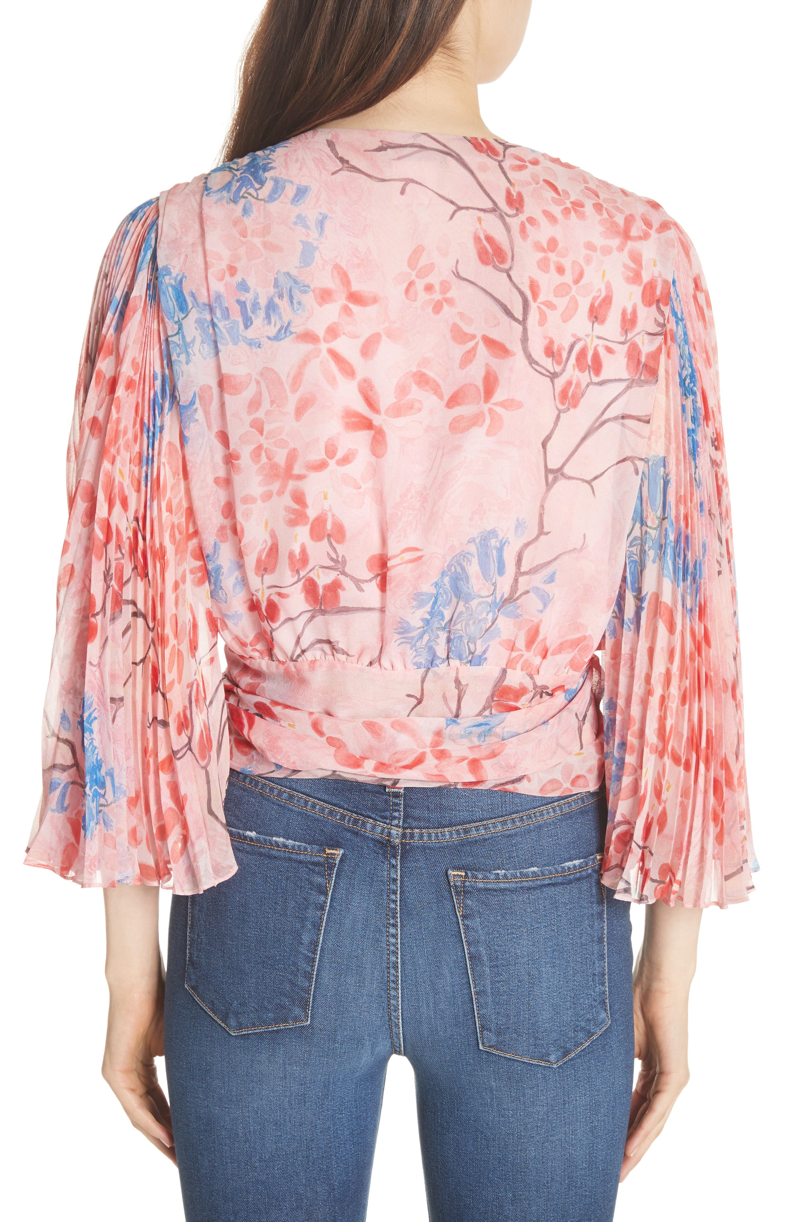Pleat Sleeve Silk Wrap Top,                             Alternate thumbnail 2, color,                             Lola Floral