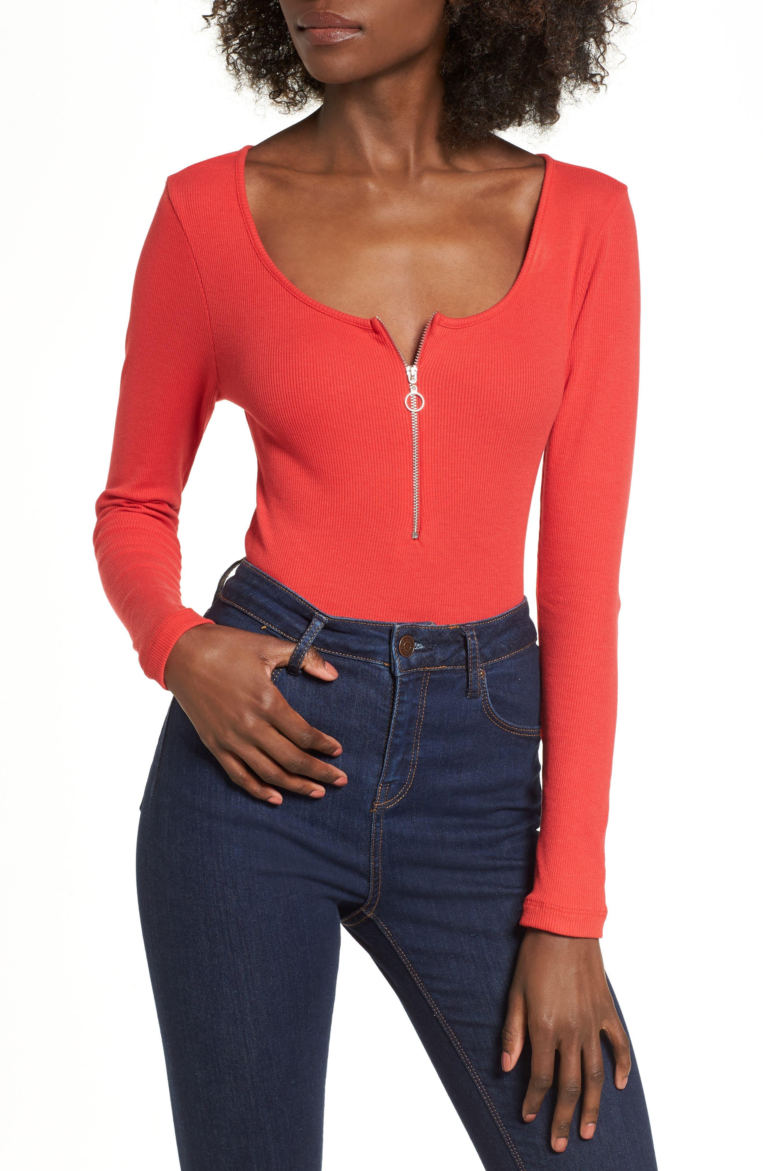 Ring Pull Zip Bodysuit,                             Main thumbnail 1, color,                             Red