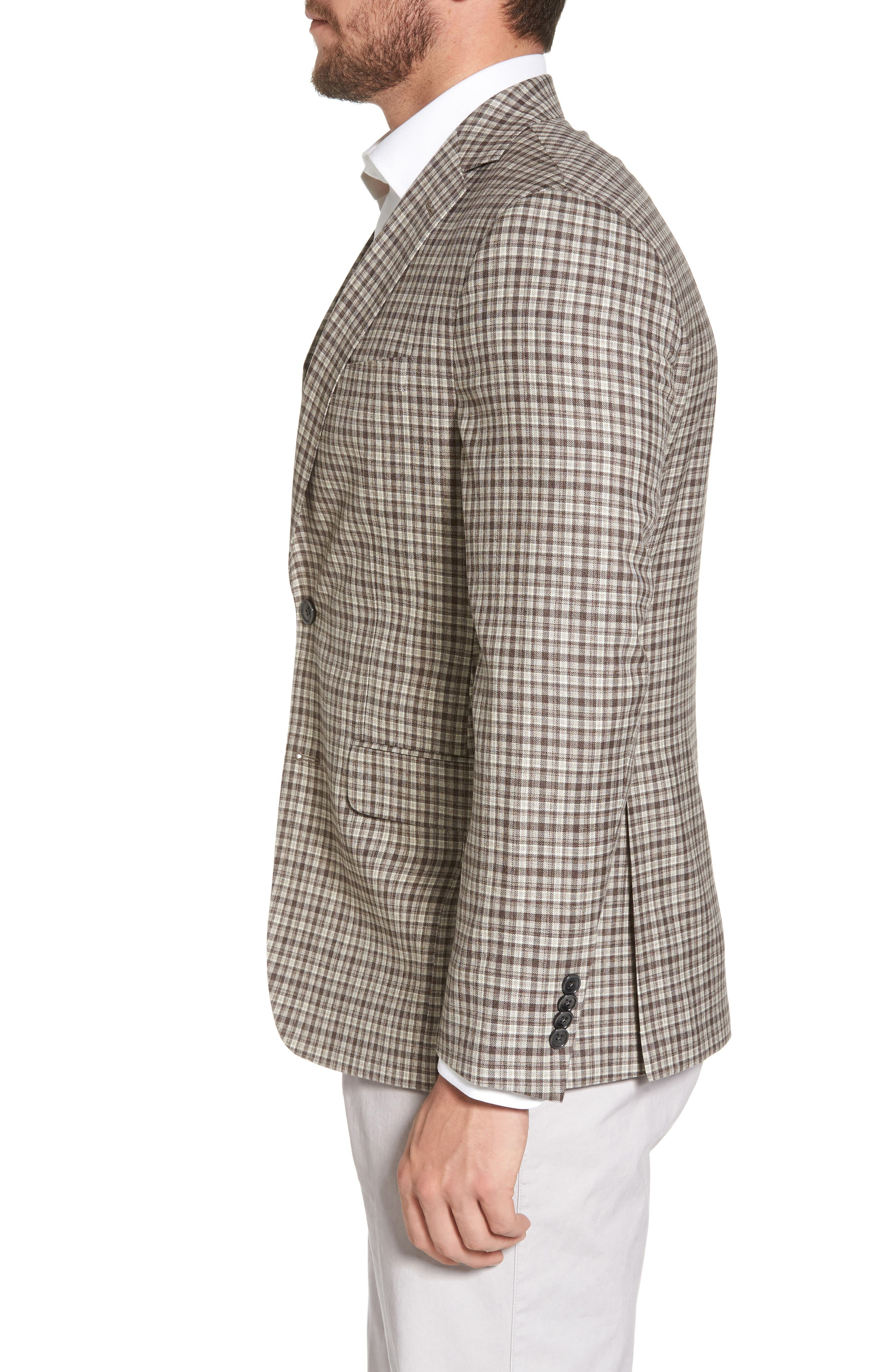Arnold Classic Fit Plaid Wool Sport Coat,                             Alternate thumbnail 3, color,                             Brown
