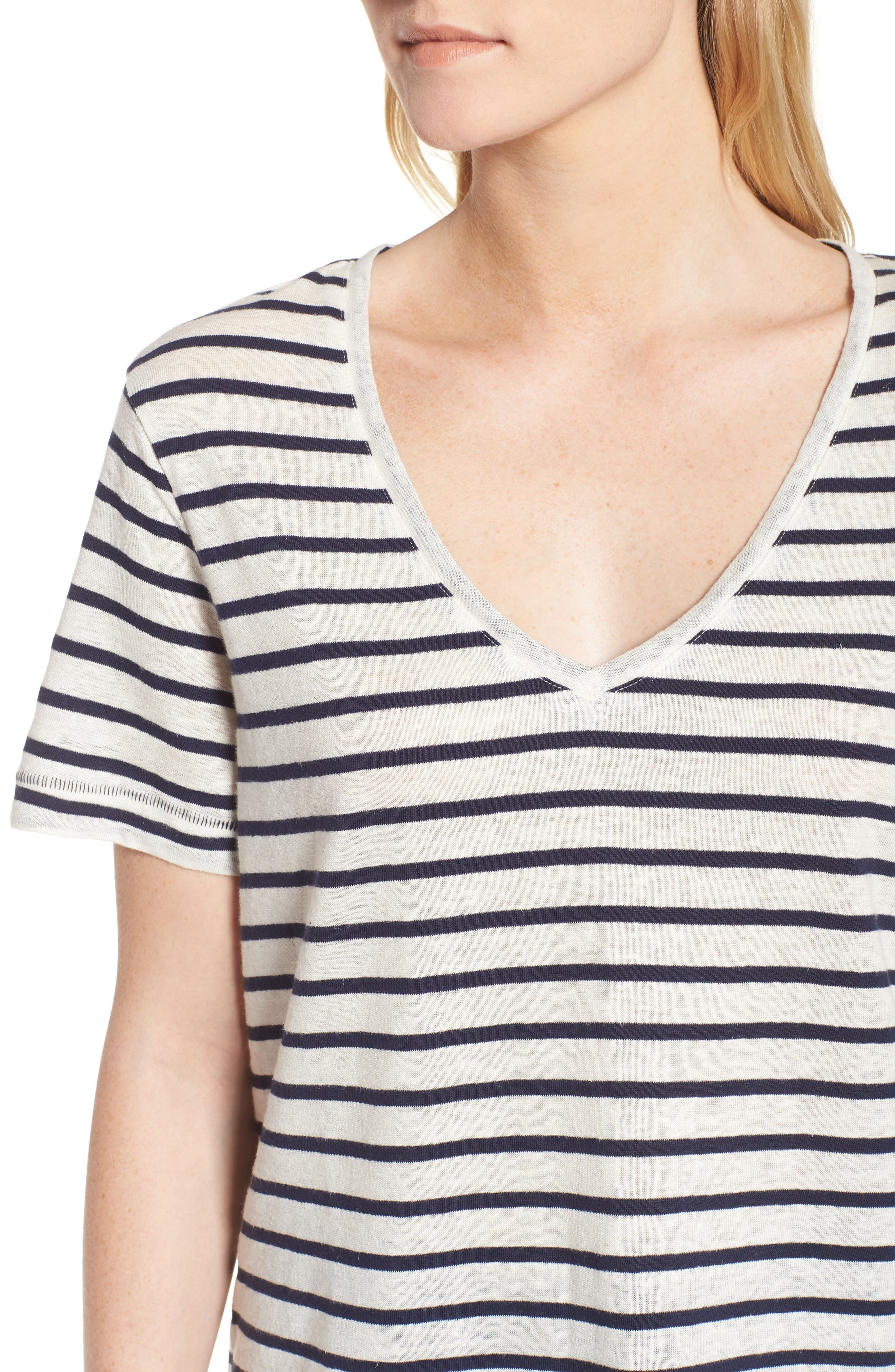 Stripe V-Neck Tee,                             Alternate thumbnail 4, color,                             Navy Stripe