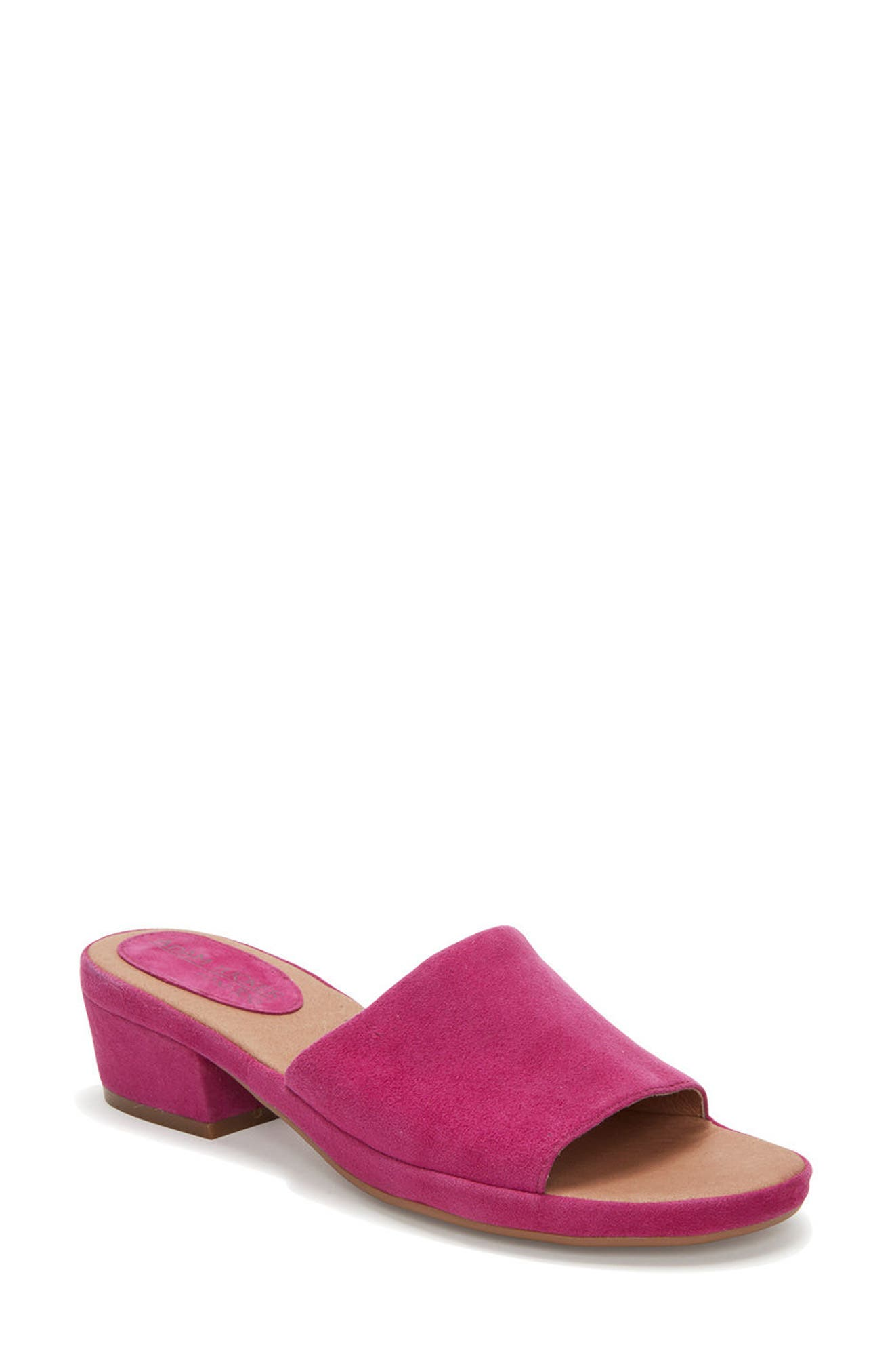 Adam Tucker Yolo Sandal,                             Main thumbnail 1, color,                             Fuchsia Suede