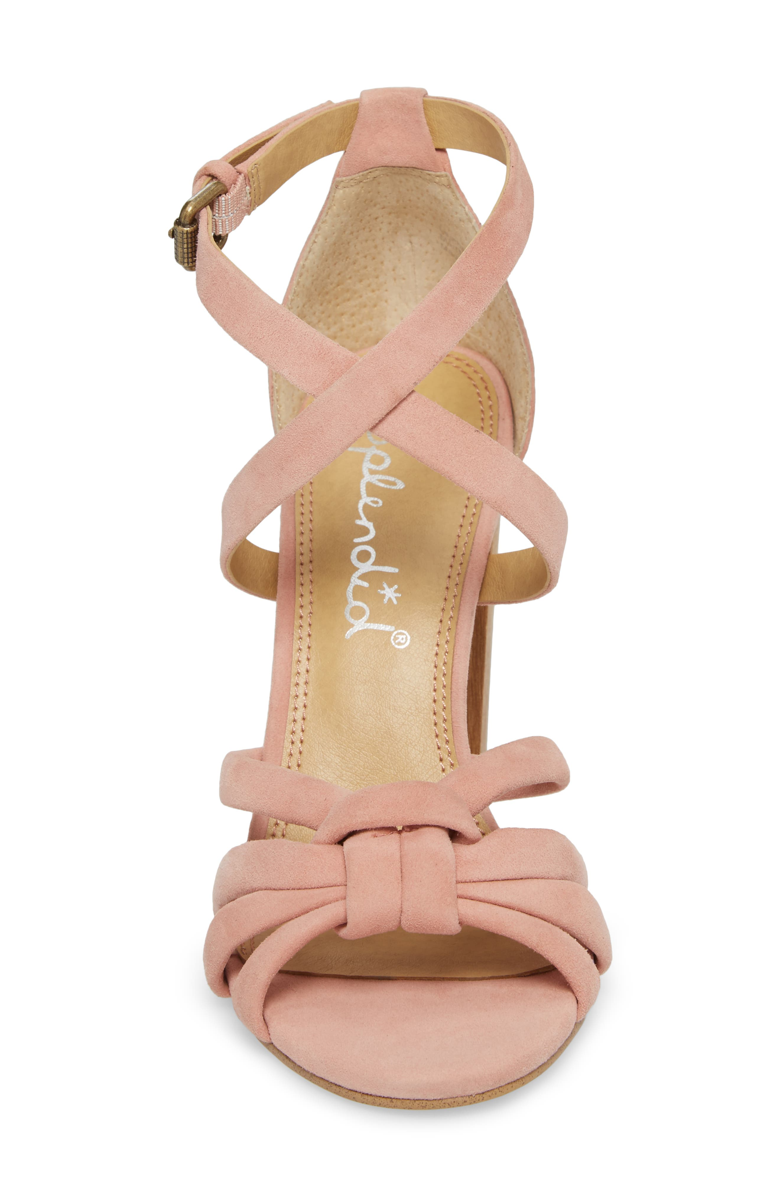 Faris Block Heel Sandal,                             Alternate thumbnail 4, color,                             Blush Suede
