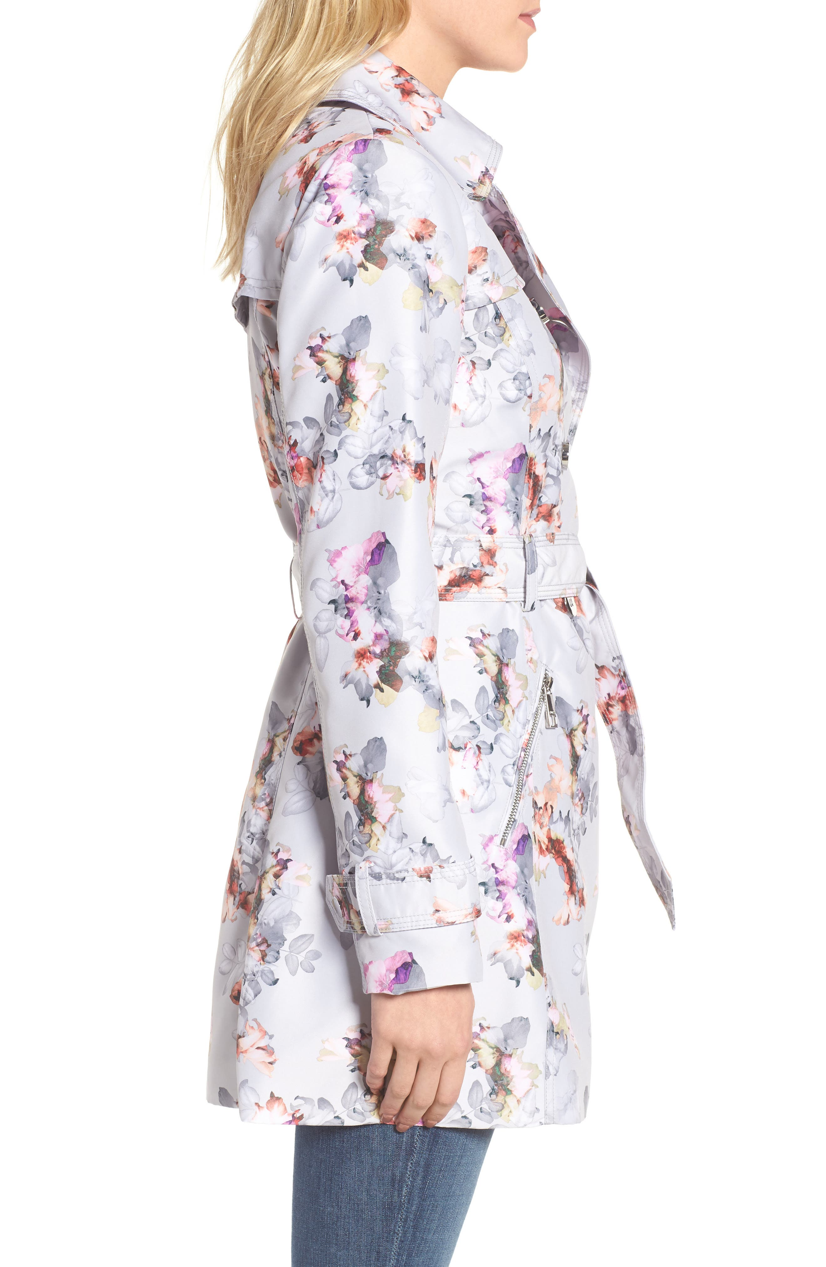 Double Breasted Floral Trench Coat,                             Alternate thumbnail 3, color,                             Floral