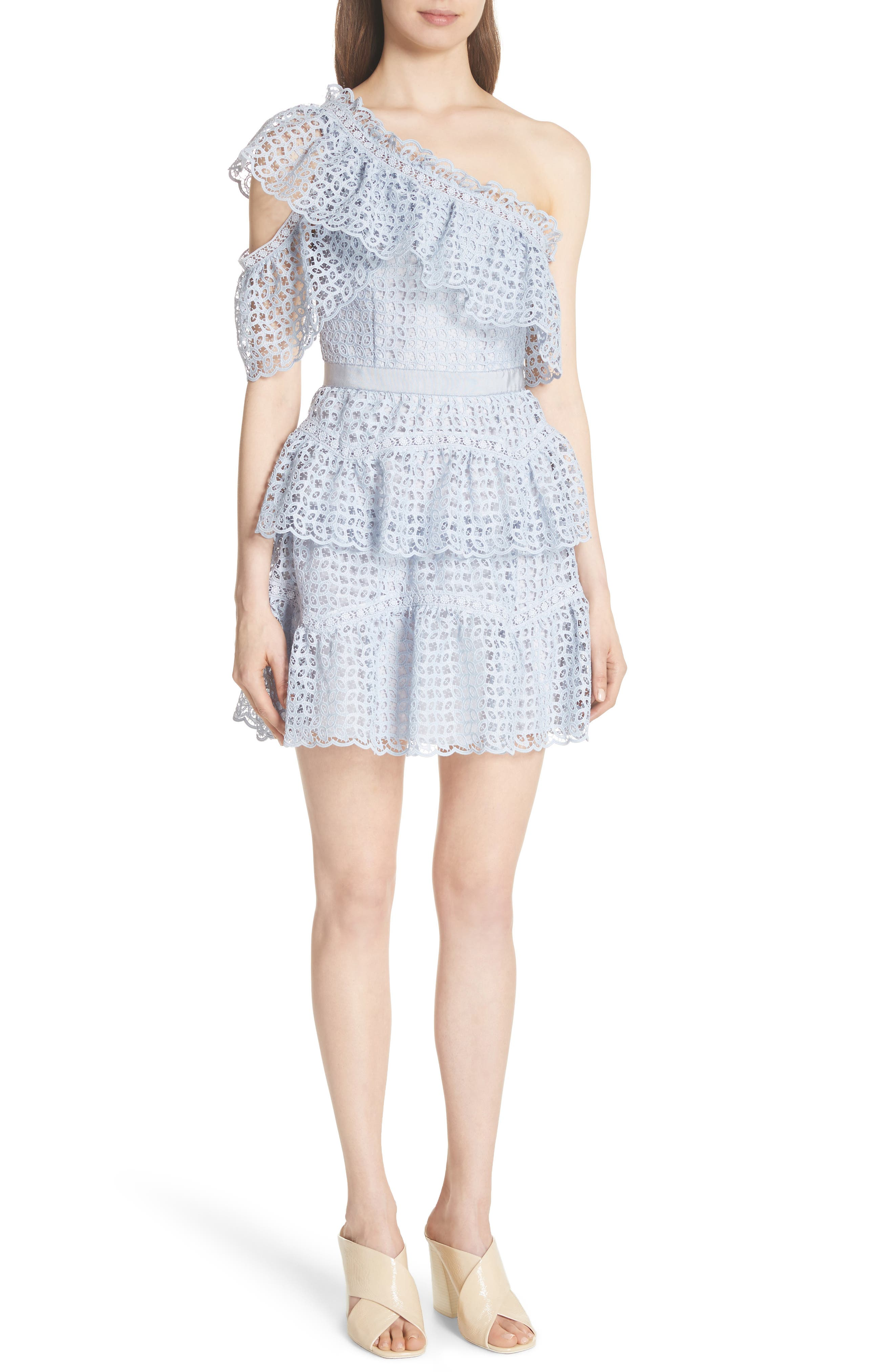 One-Shoulder Cutwork Organza Dress,                         Main,                         color, Pale Blue