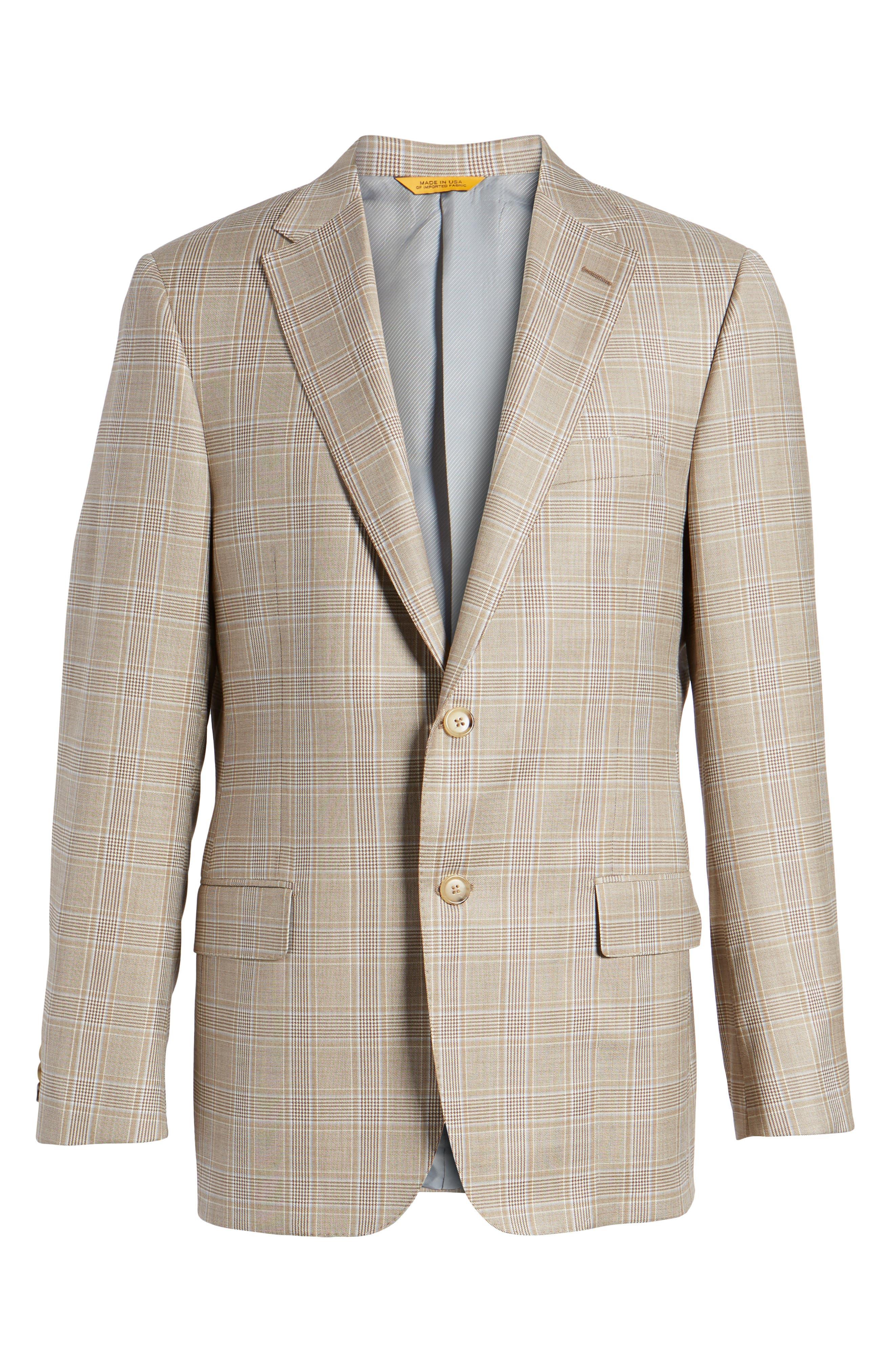 Classic B Fit Plaid Wool Sport Coat,                             Alternate thumbnail 6, color,                             Beige