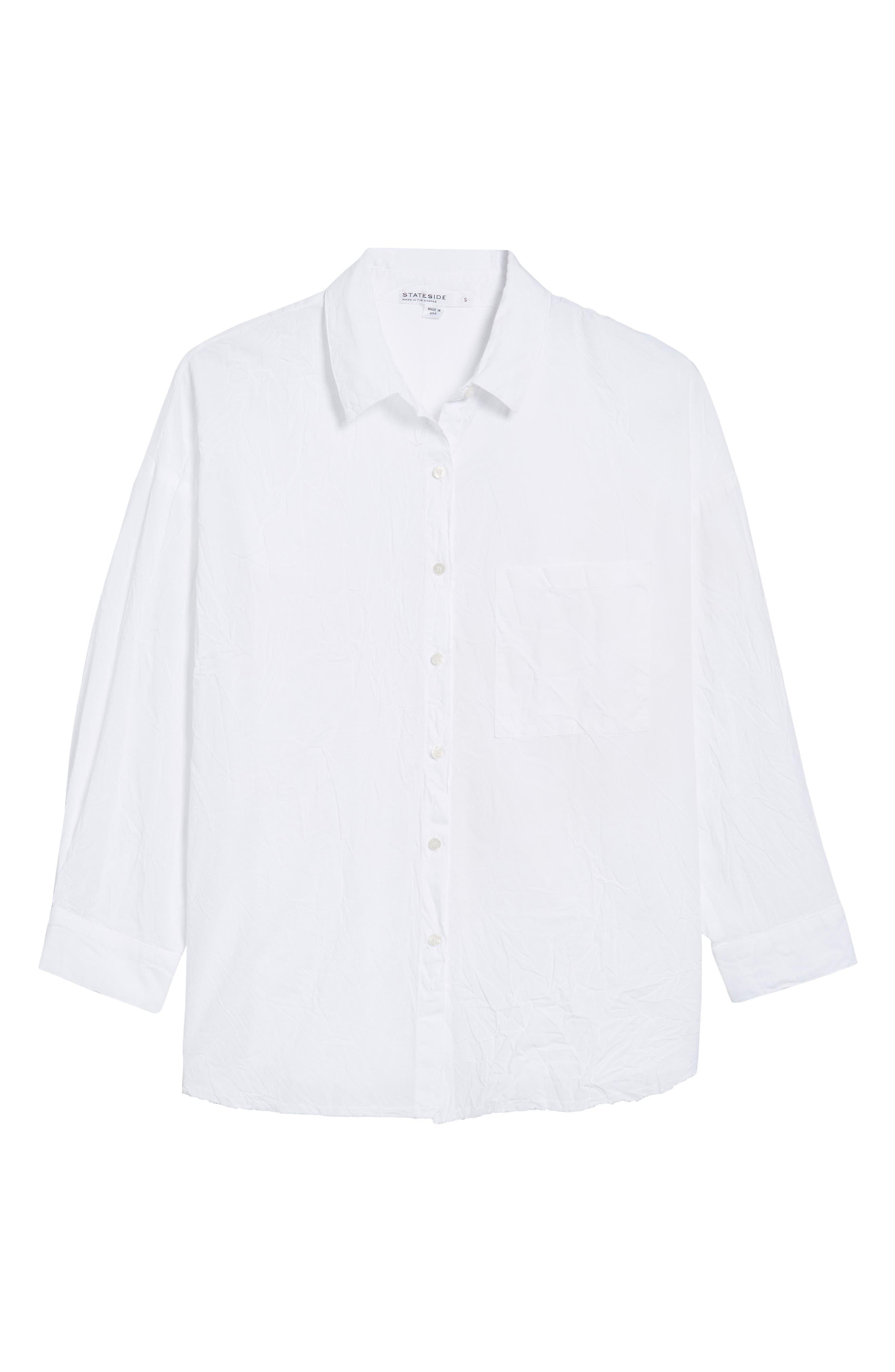 Oversize Button Front Shirt,                             Alternate thumbnail 6, color,                             White
