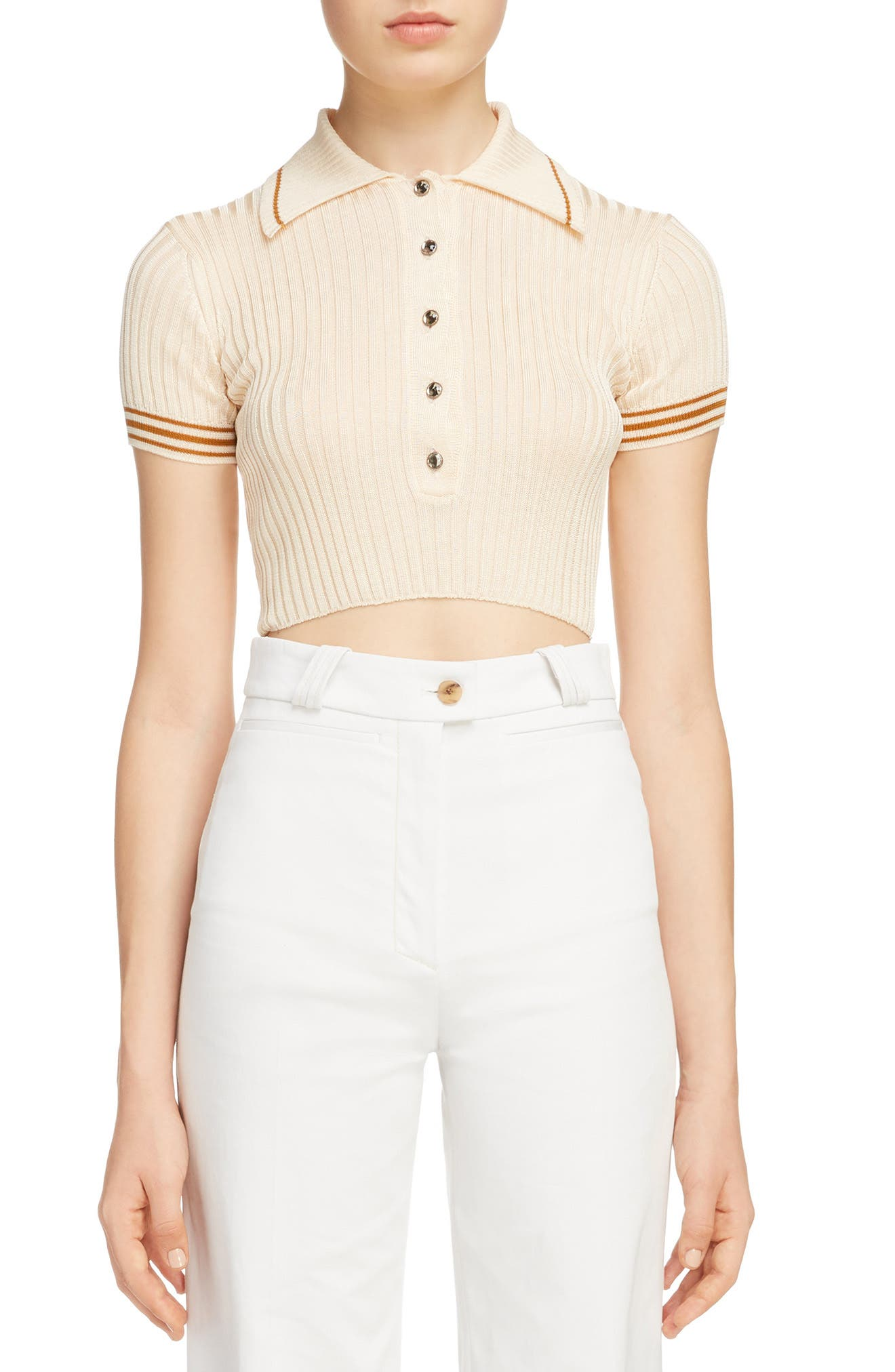 Shanita Lingerie Crop Polo Sweater,                             Main thumbnail 1, color,                             Ivory White/ Tobacco Stripe