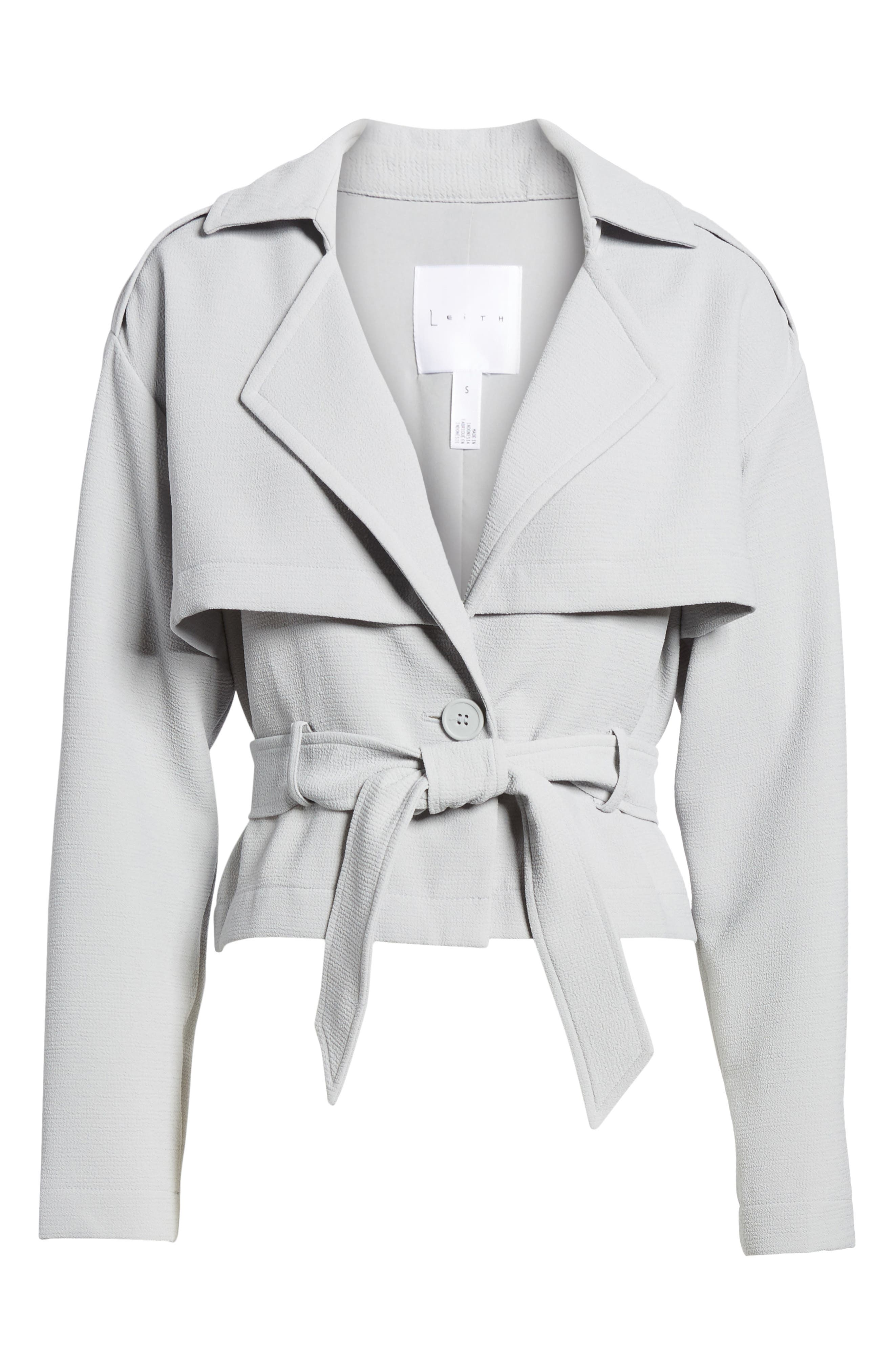 Crop Trench Jacket,                             Alternate thumbnail 7, color,                             Blue Pearl