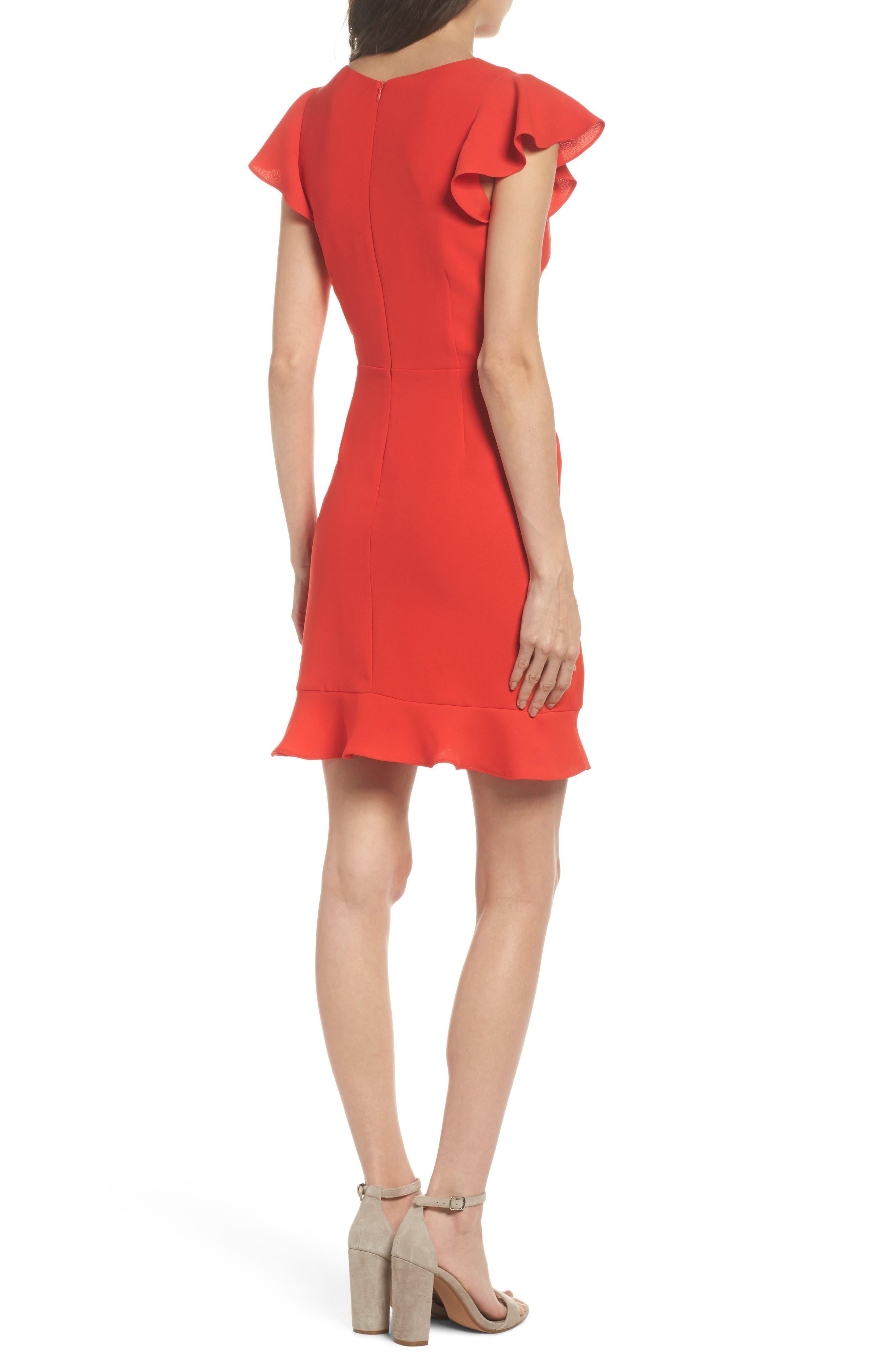 Ruffle Edge Sheath Dress,                             Alternate thumbnail 2, color,                             Coral